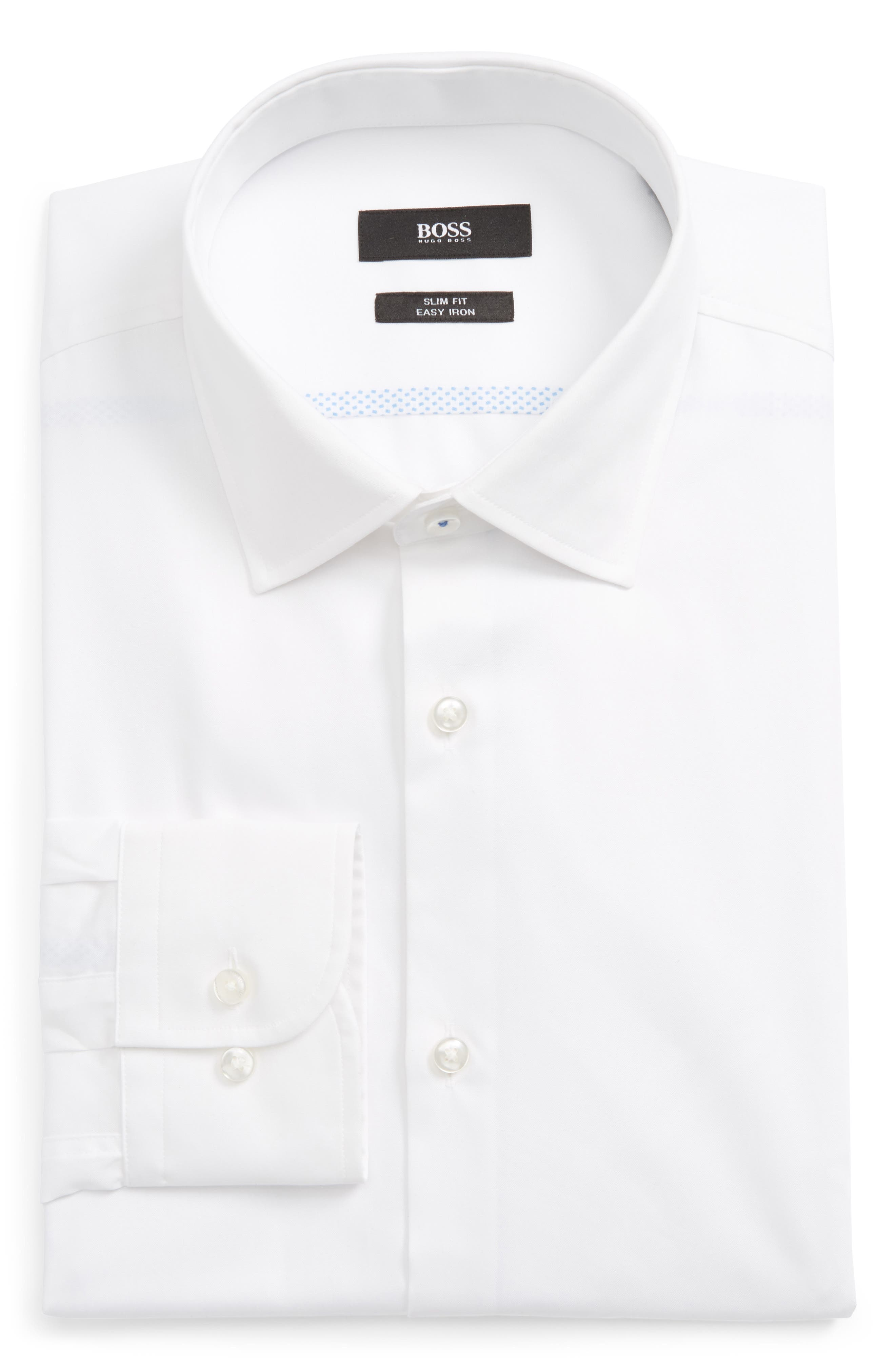 BOSS Jerris Slim Fit Easy Iron Solid Dress Shirt
