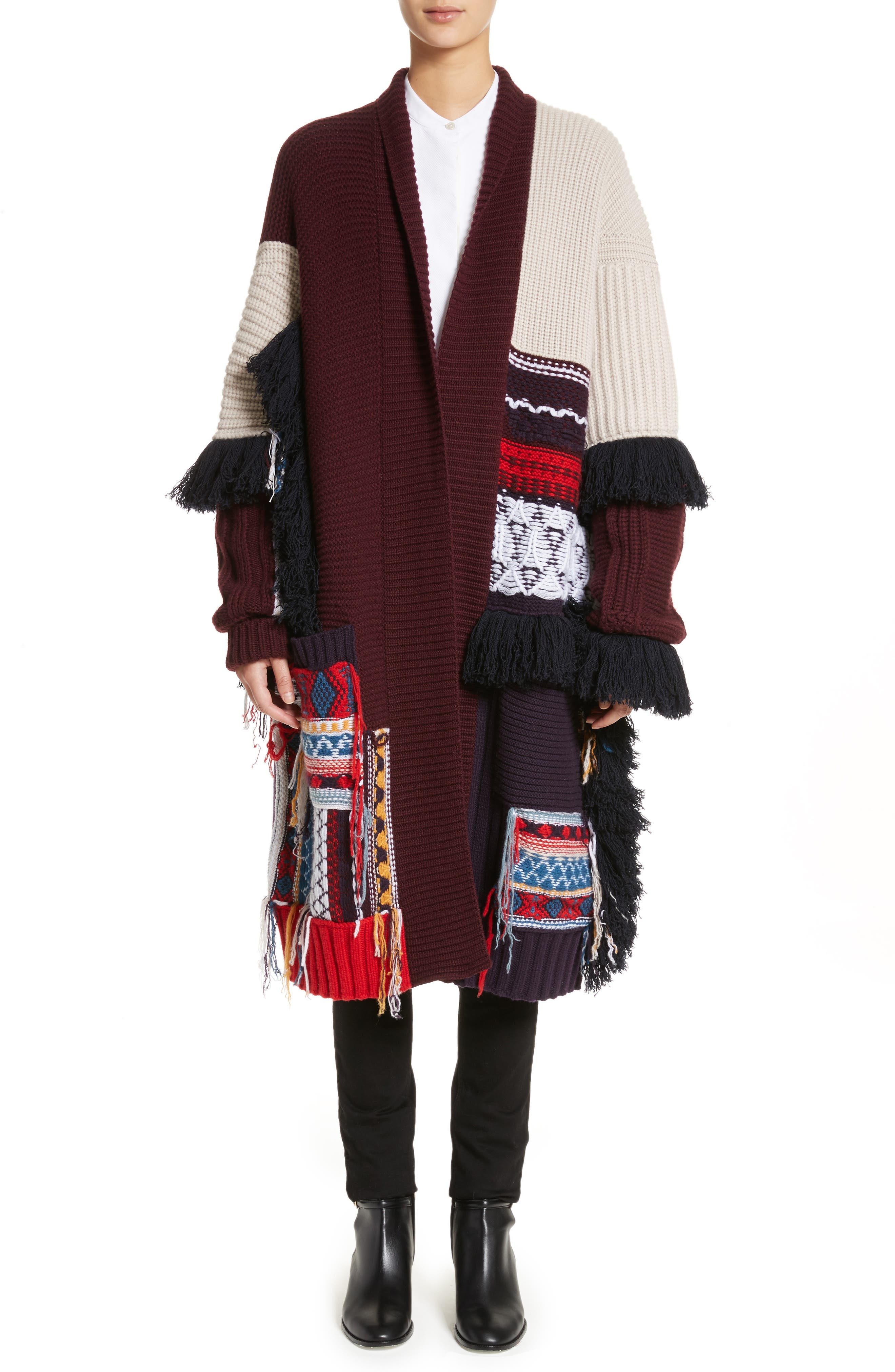 Rotaldo Wool & Cashmere Patchwork Cardigan,                         Main,                         color, Natural White