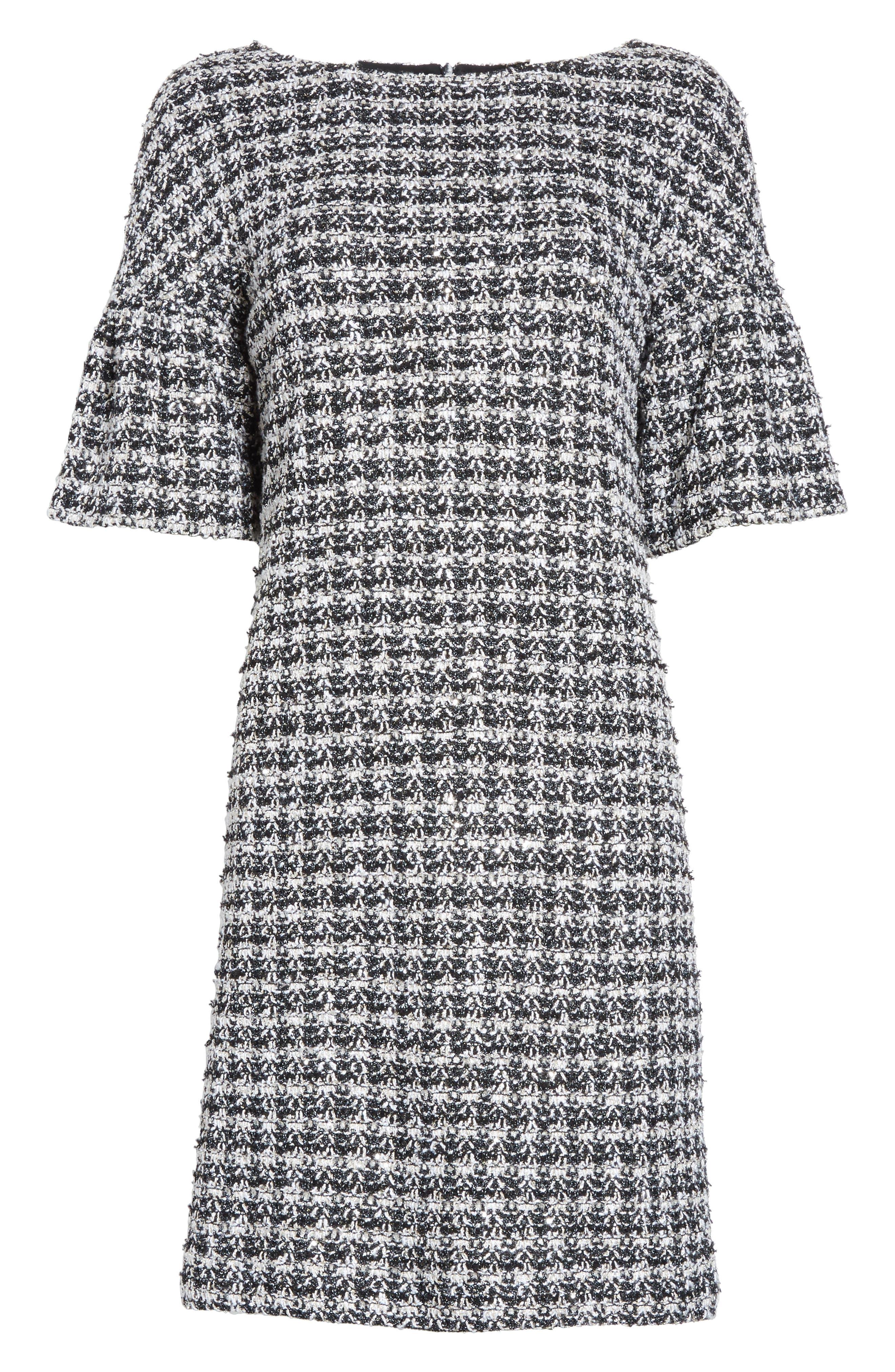 Metallic Tweed Bell Sleeve Dress,                             Alternate thumbnail 7, color,                             Caviar Multi