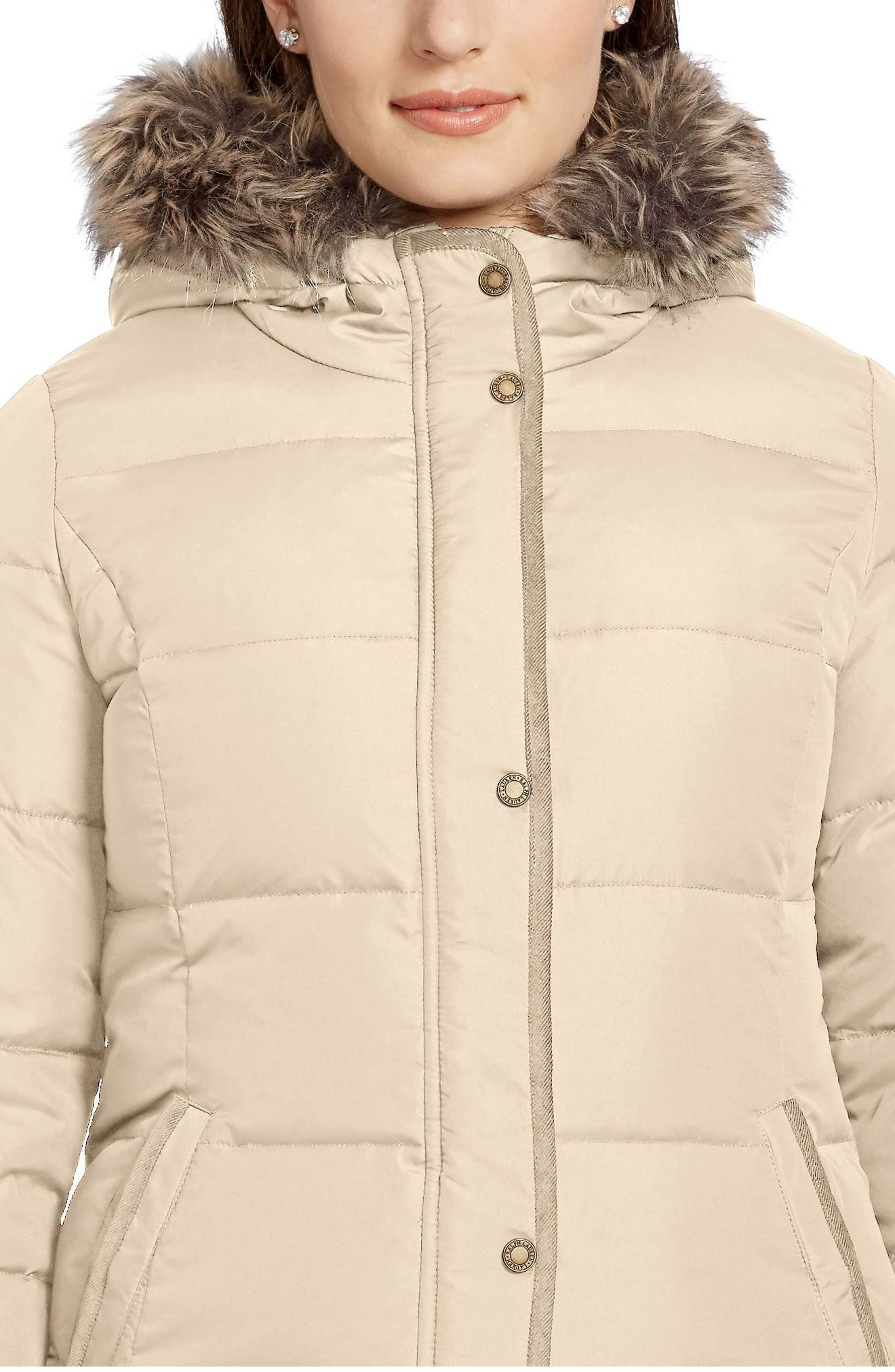 Quilted Parka with Faux Fur Trim,                             Alternate thumbnail 4, color,                             Racing Khaki