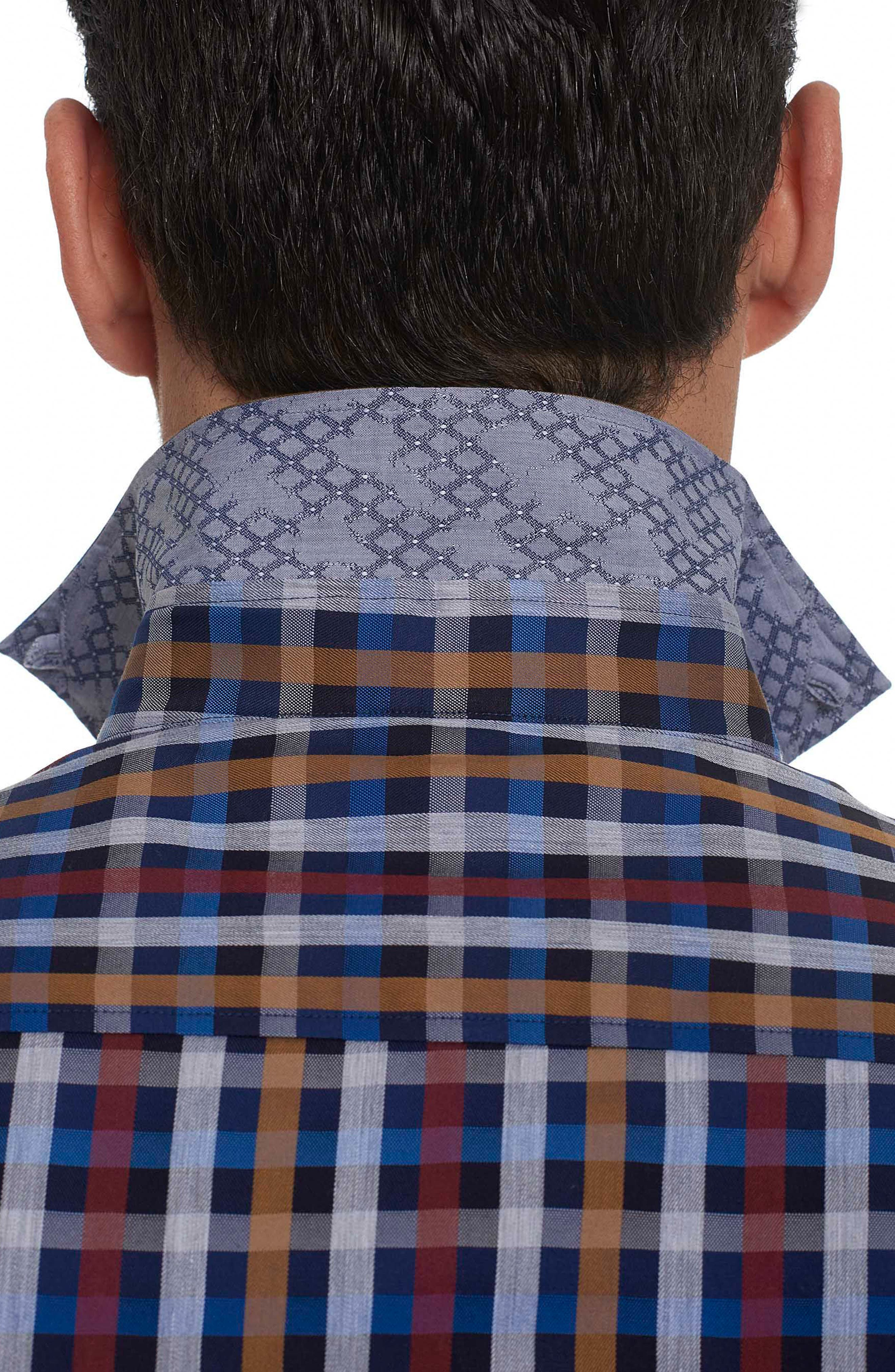 Carsons Tailored Fit Check Sport Shirt,                             Alternate thumbnail 5, color,                             Blue