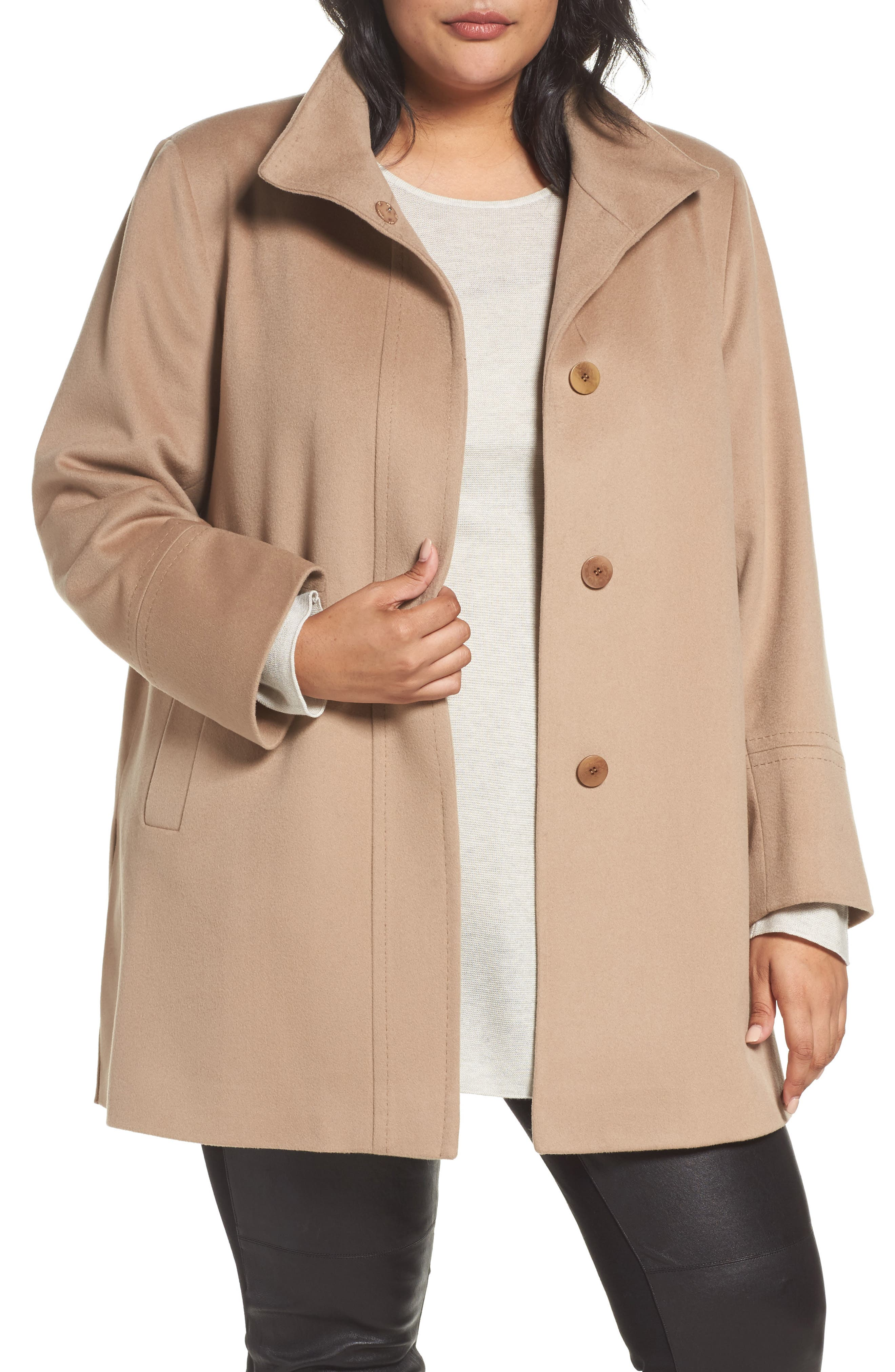 Alternate Image 1 Selected - Fleurette Wool Car Coat (Plus Size) (Nordstrom Exclusive)