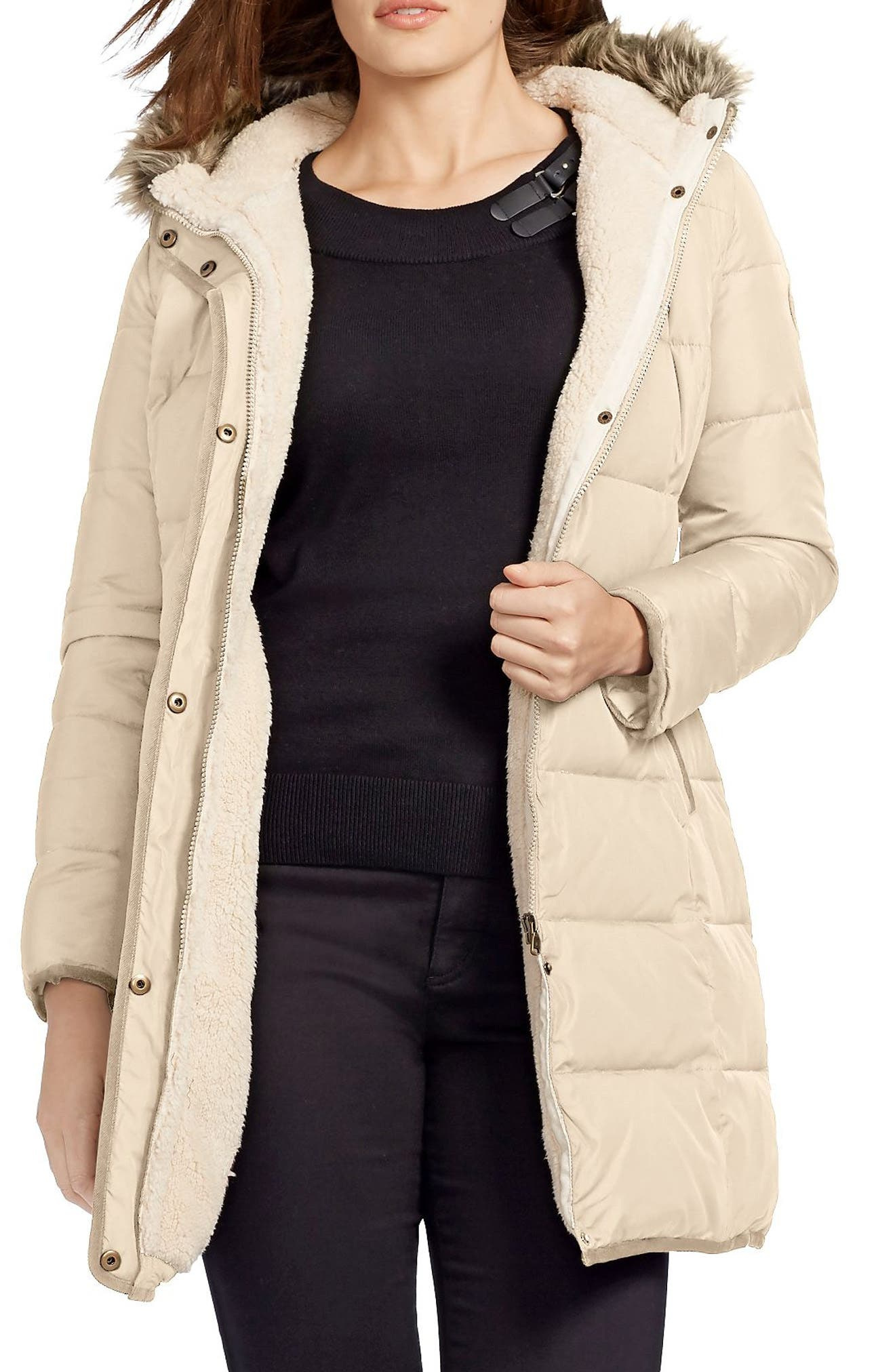 Quilted Parka with Faux Fur Trim,                         Main,                         color, Racing Khaki