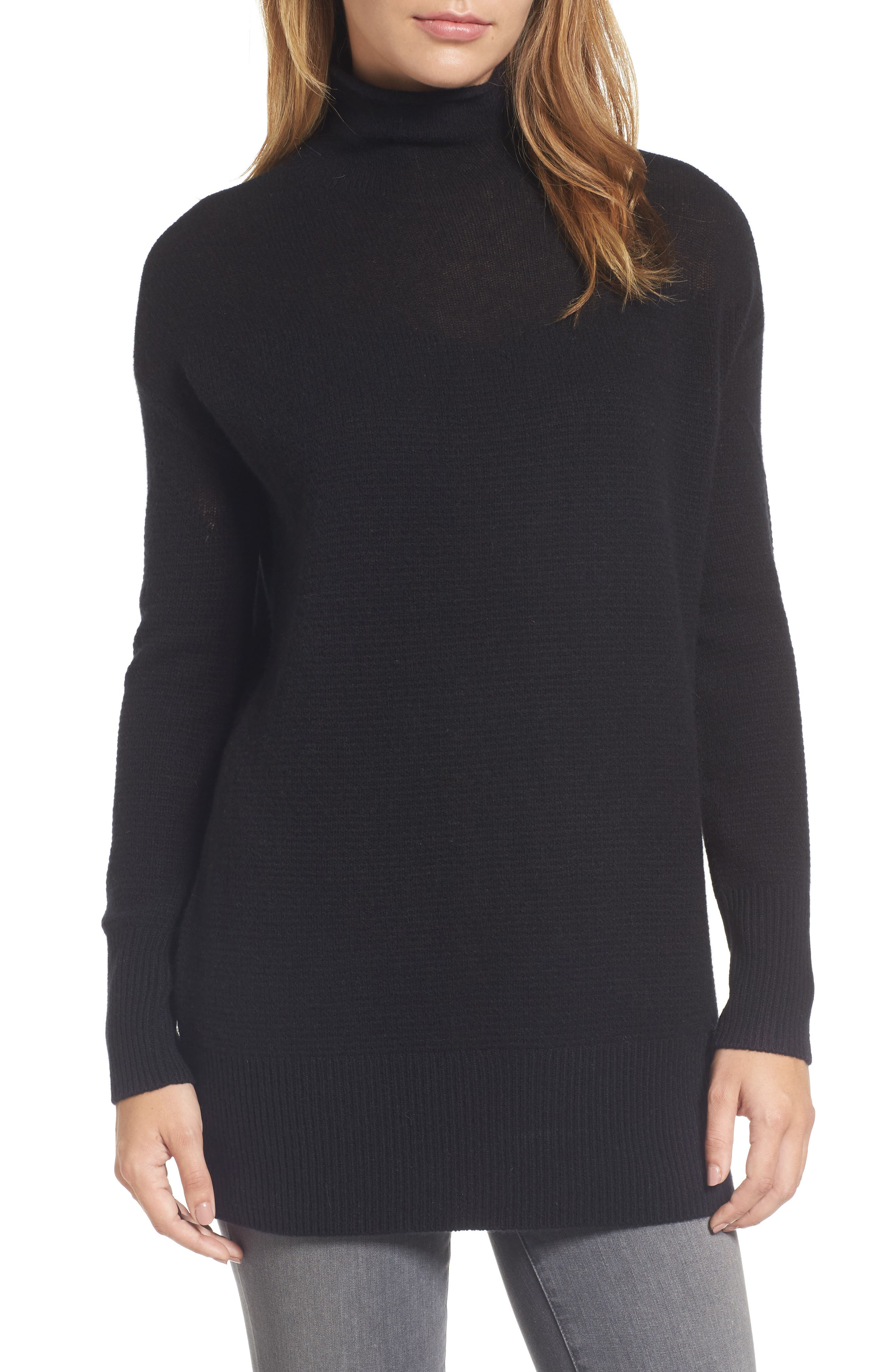 Sheer Yoke Cashmere Sweater,                         Main,                         color, Black