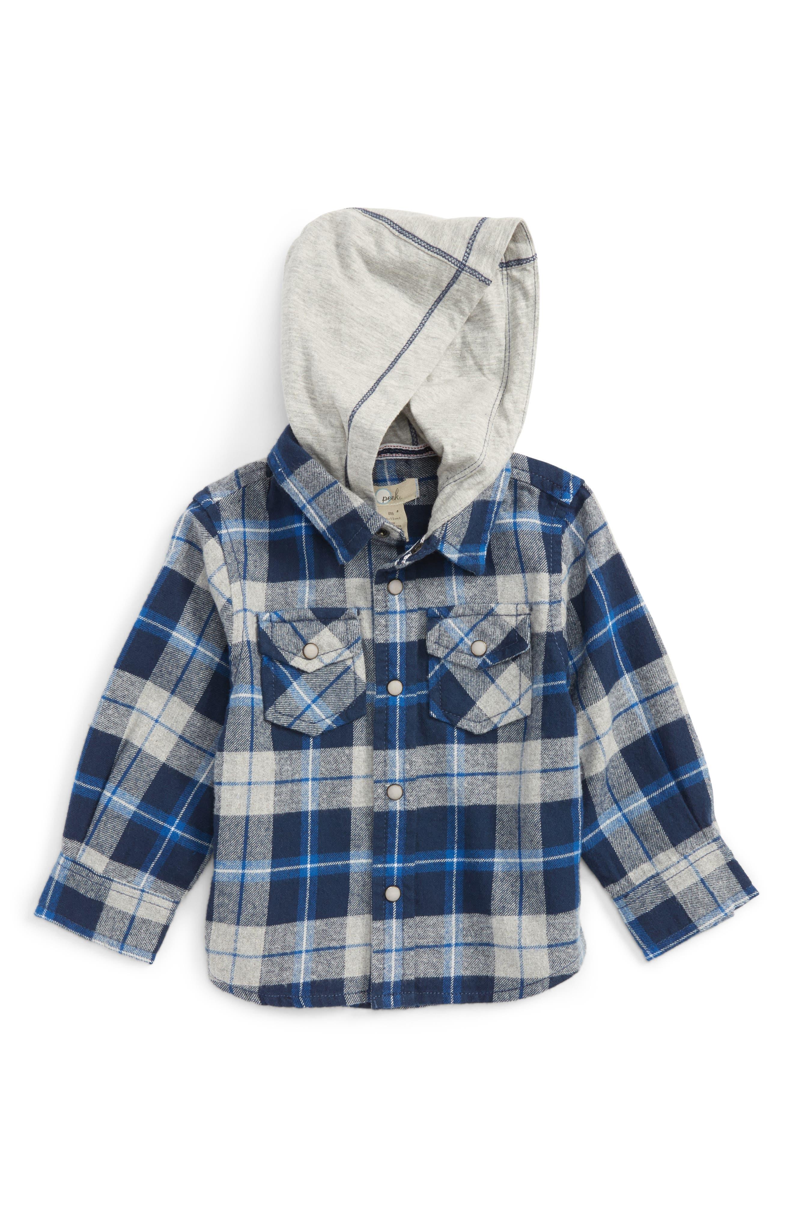 Peek Liam Hooded Flannel Shirt (Baby Boys)