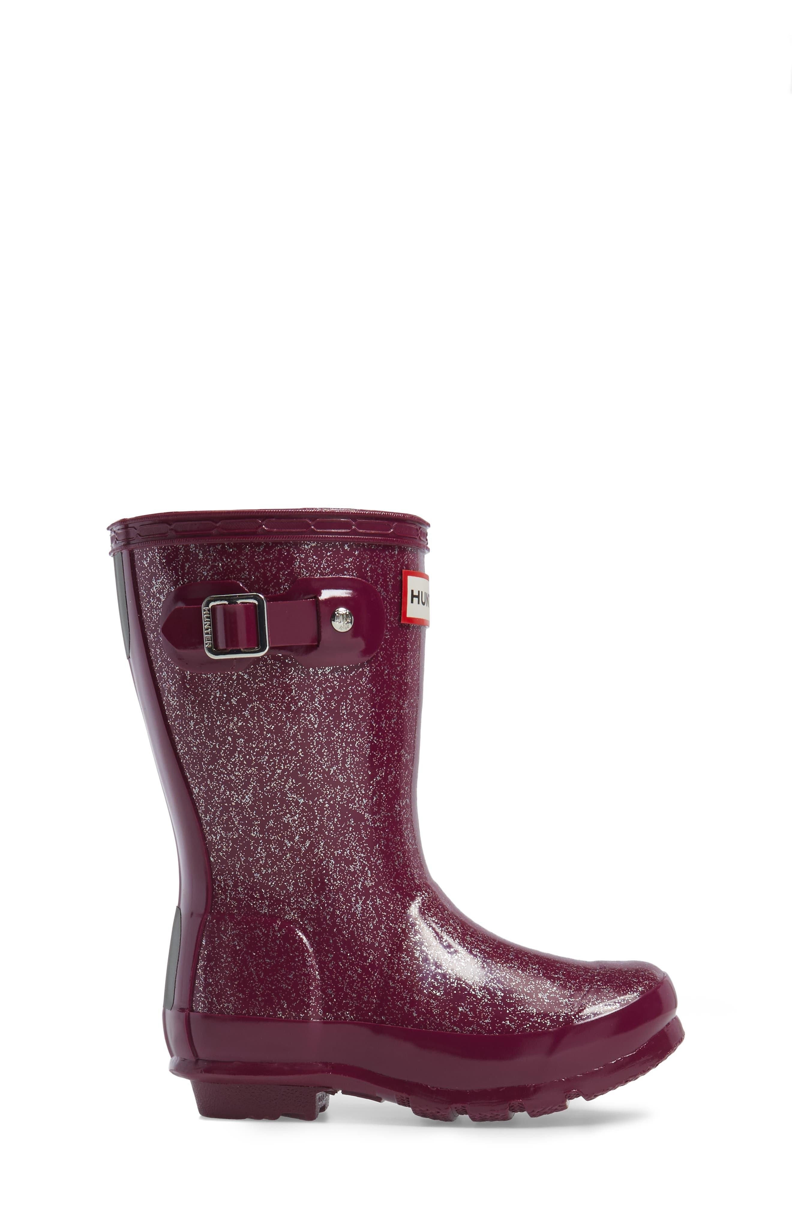 'Original Glitter' Rain Boot,                             Alternate thumbnail 3, color,                             Bright Violet