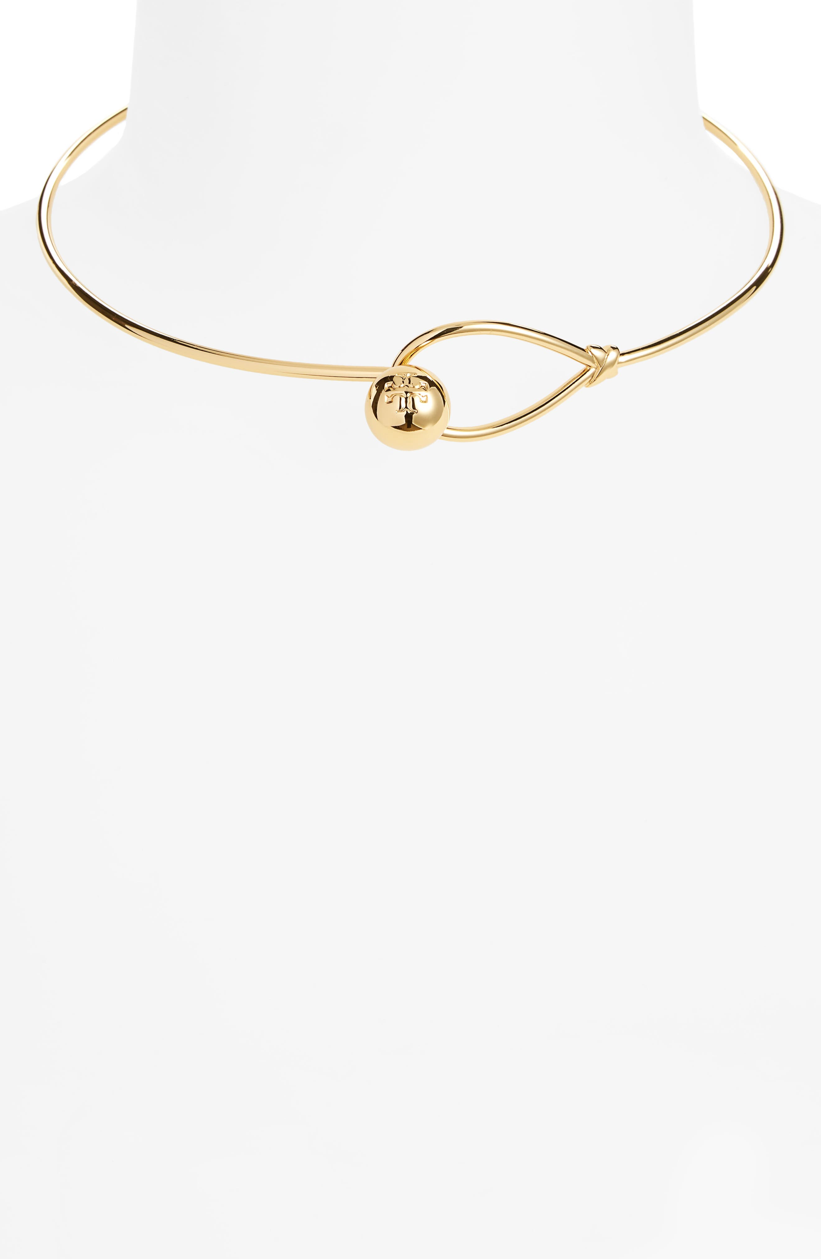 Logo Loop Collar Necklace,                             Alternate thumbnail 2, color,                             Tory Gold