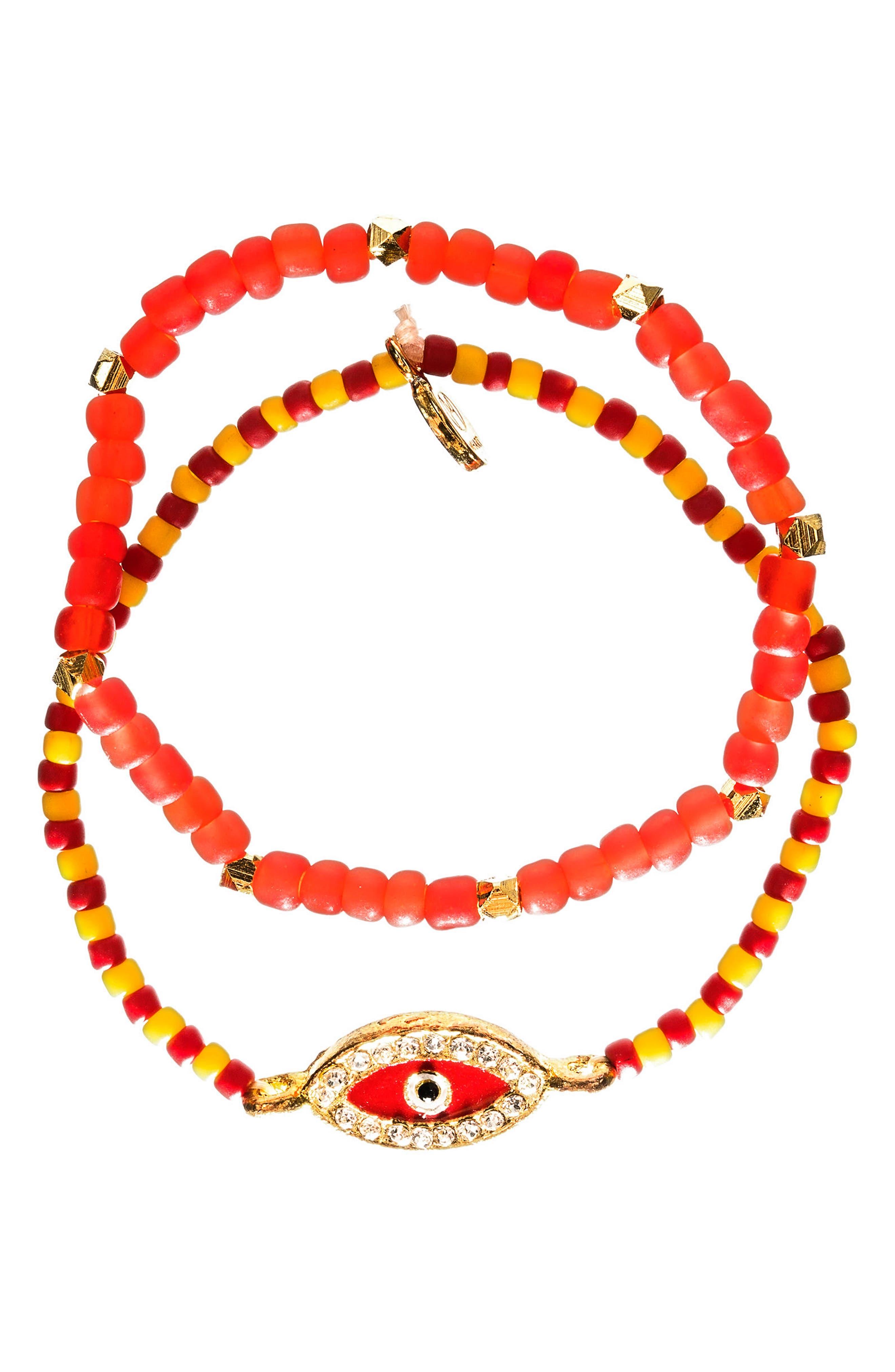 Main Image - MHART Evil Eye Set of 2 Beaded Stretch Bracelets