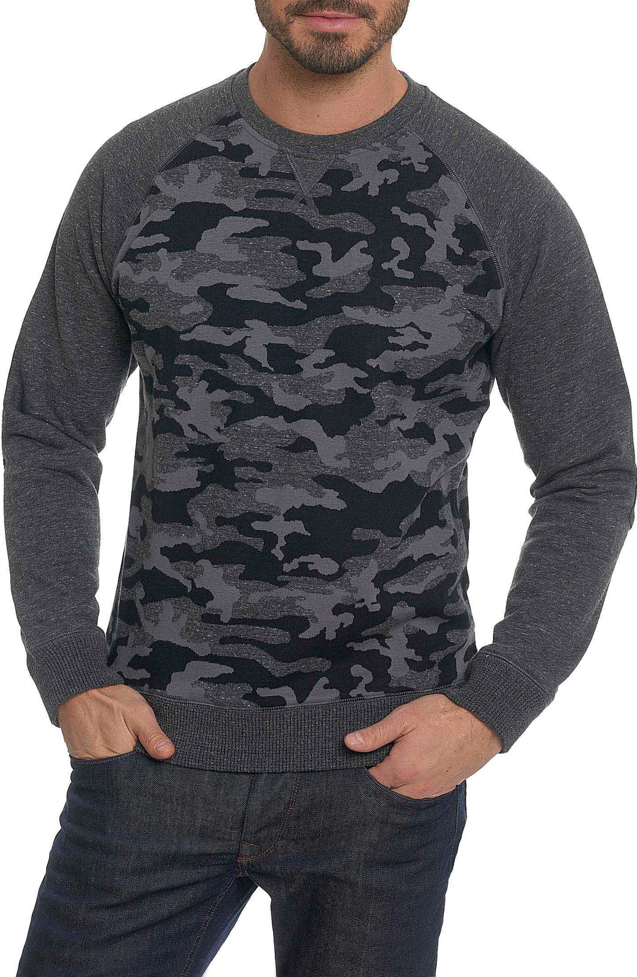 Mooers Camo Raglan Sleeve Shirt,                         Main,                         color, Charcoal