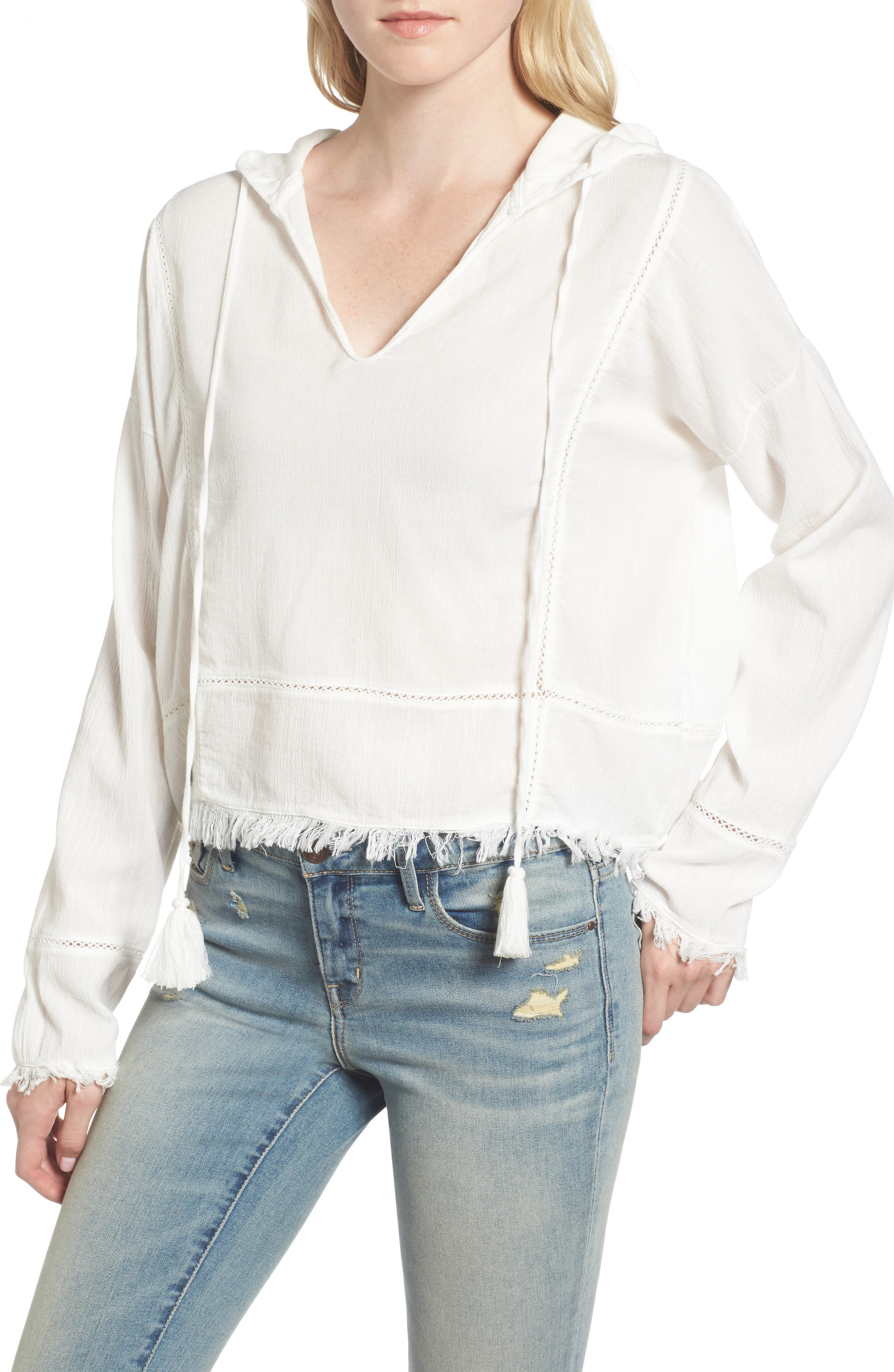 Frayed Hooded Top,                         Main,                         color, White