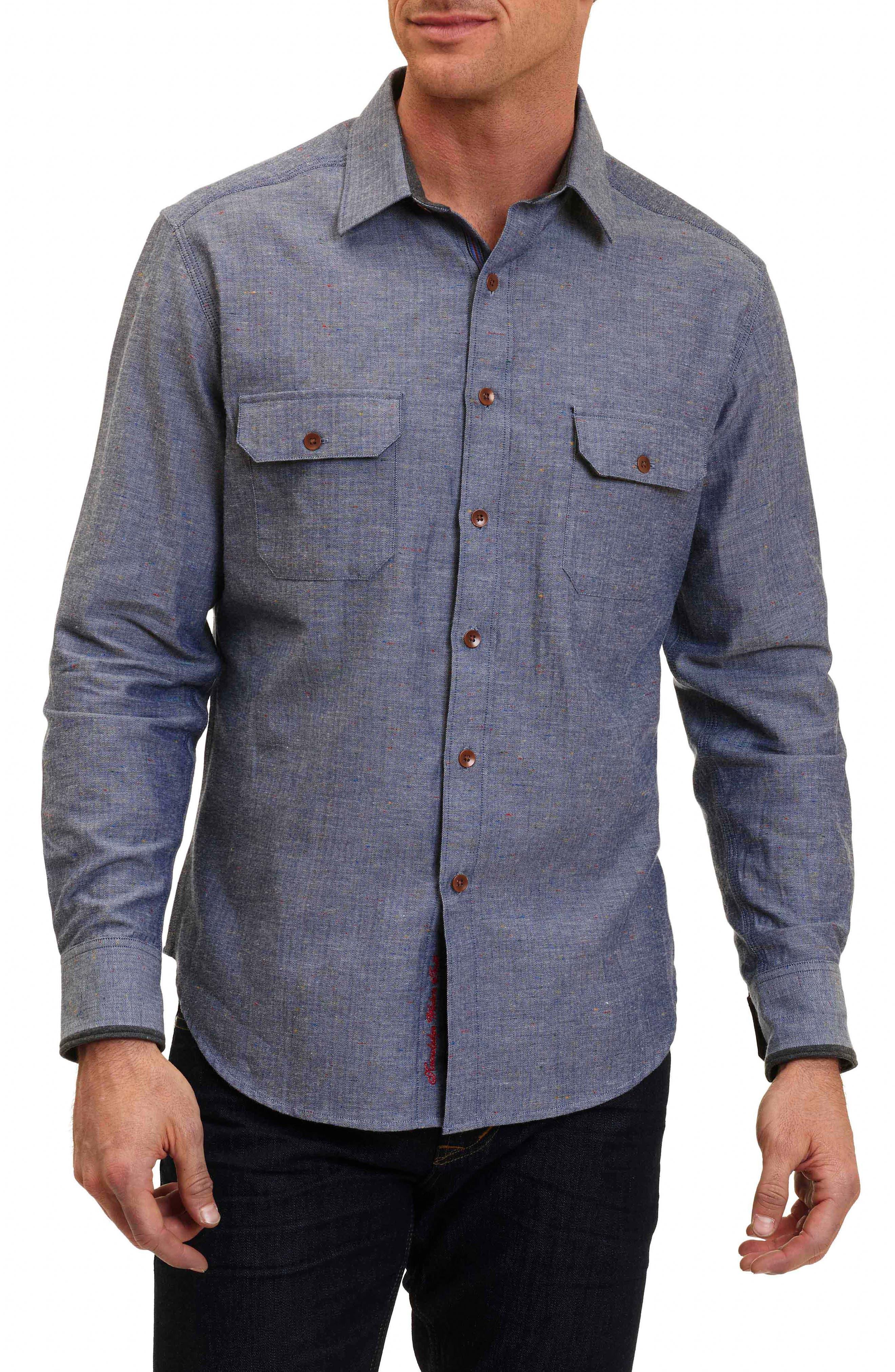 Alternate Image 1 Selected - Robert Graham Upstate Classic Fit Herringbone Sport Shirt