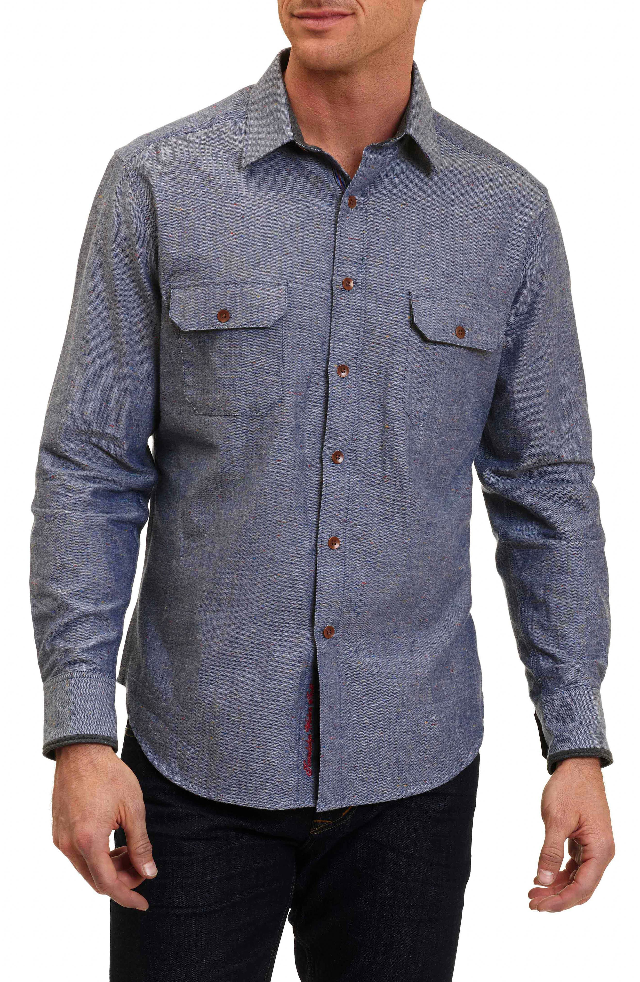 Robert Graham Upstate Classic Fit Herringbone Sport Shirt