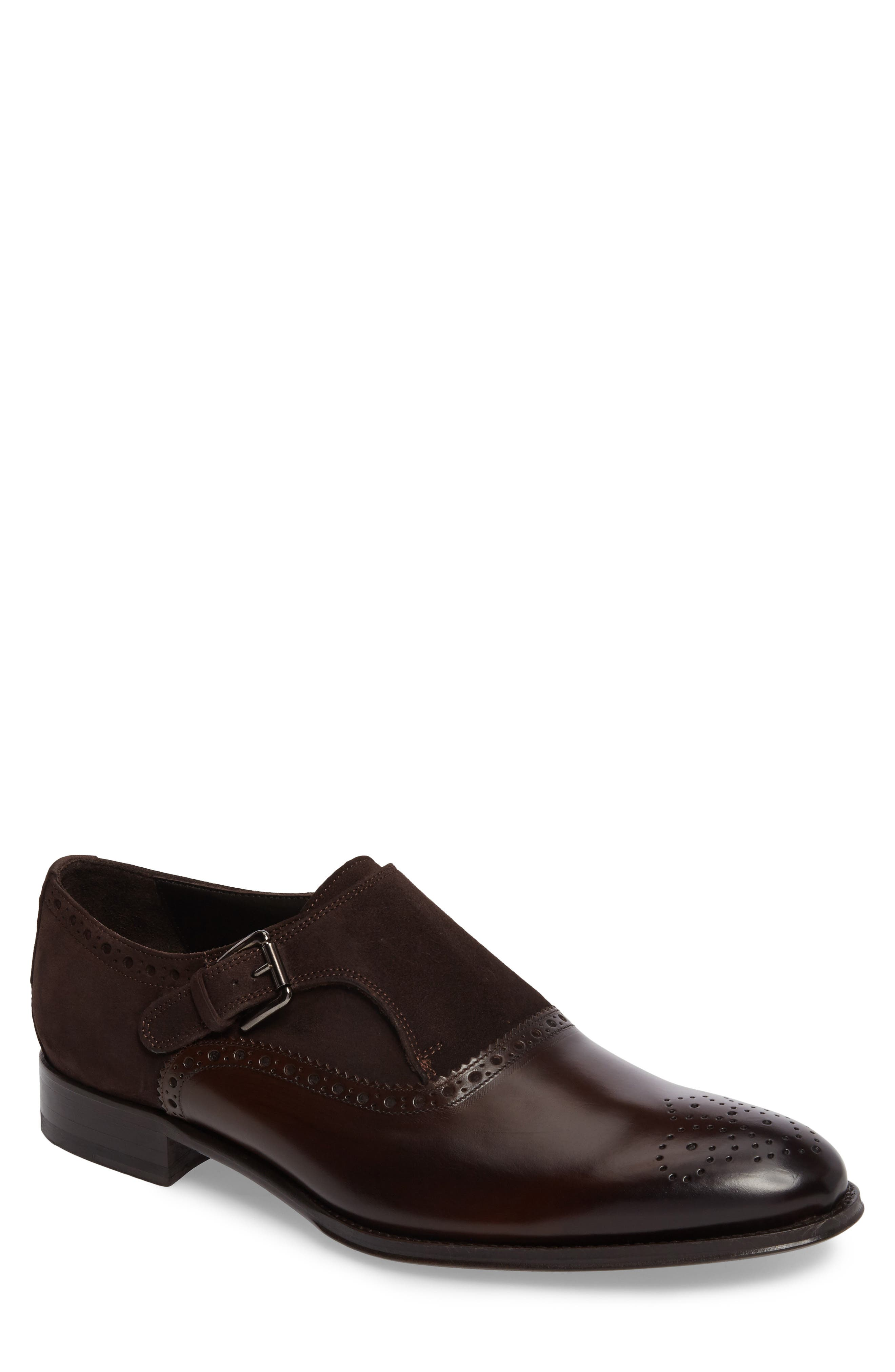 Arcadia Monk Strap Shoe,                             Main thumbnail 1, color,                             Brown Leather/ Suede