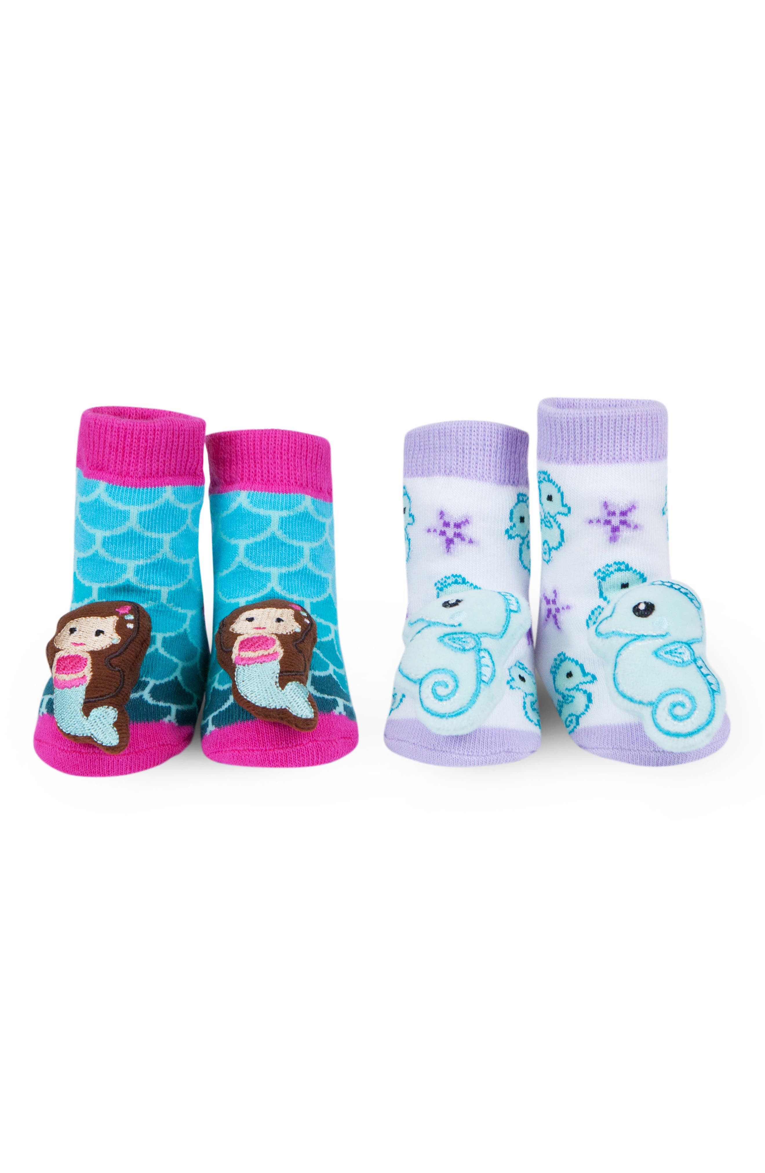 Mermaids 2-Pack Rattle Socks,                             Main thumbnail 1, color,                             Fuchsia/ Light Purple