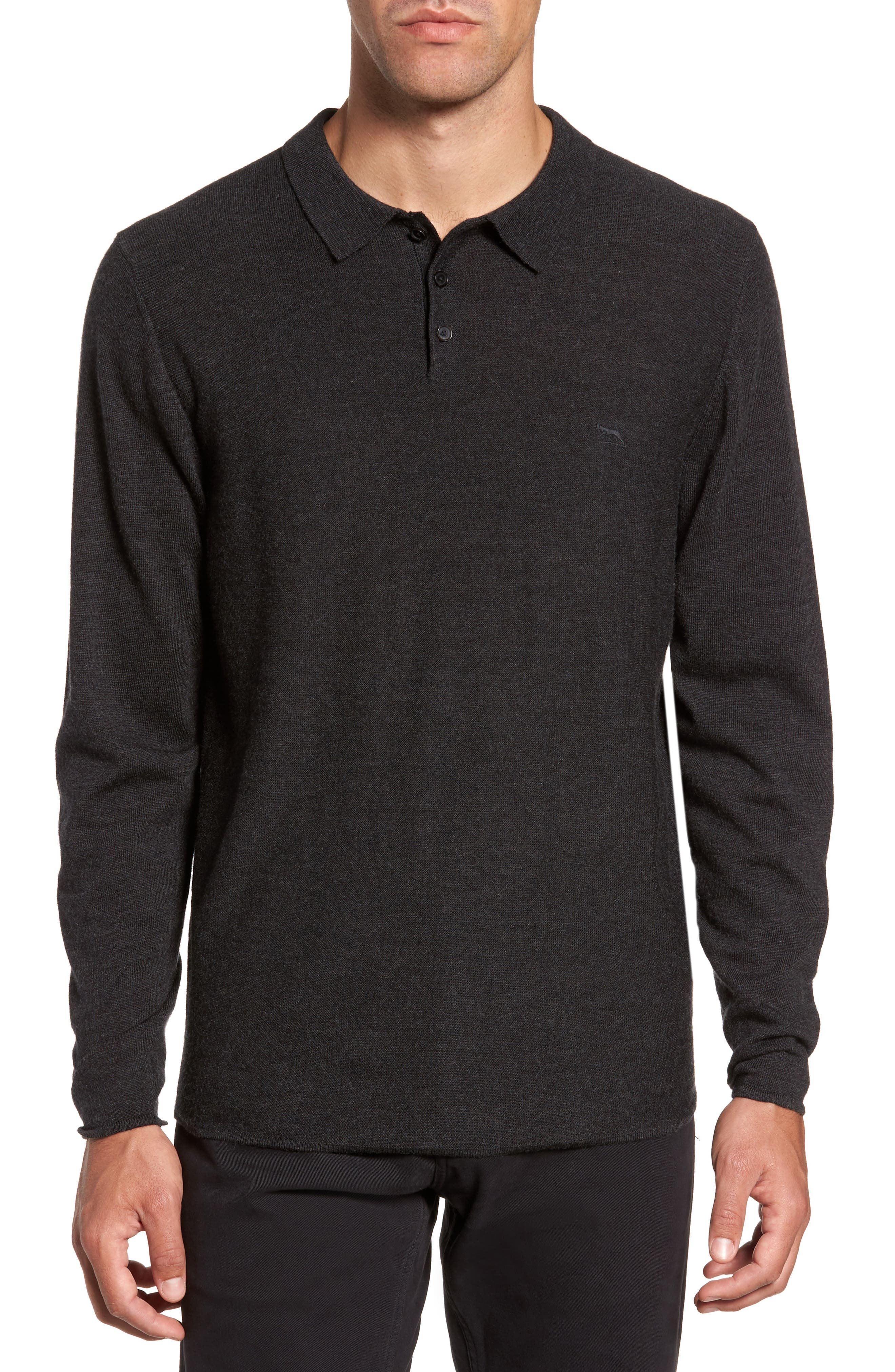 Crater Lake Piqué Wool Polo,                         Main,                         color, Charcoal
