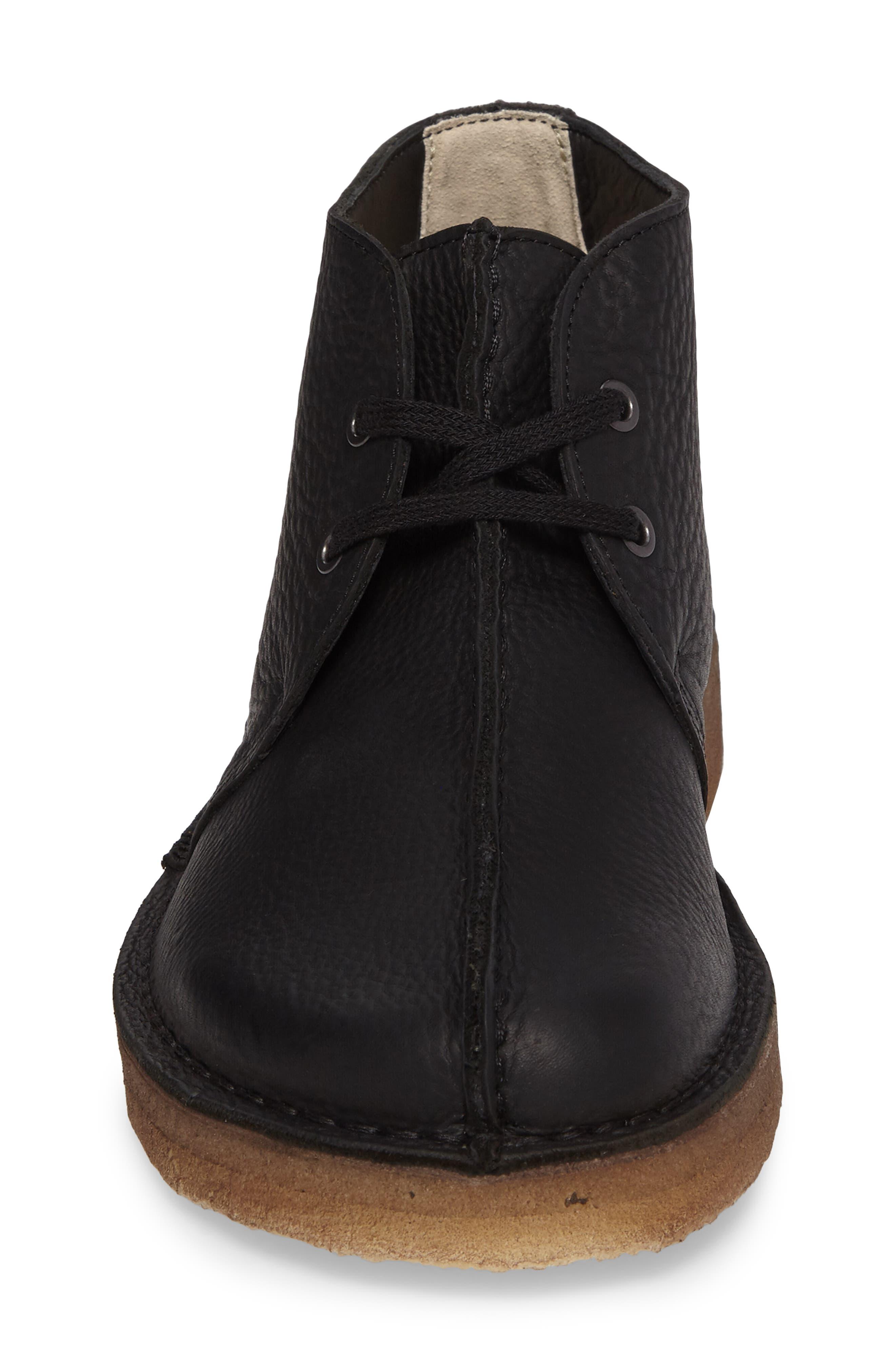 Clarks Desert Trek Leather Boot,                             Alternate thumbnail 4, color,                             Black Leather