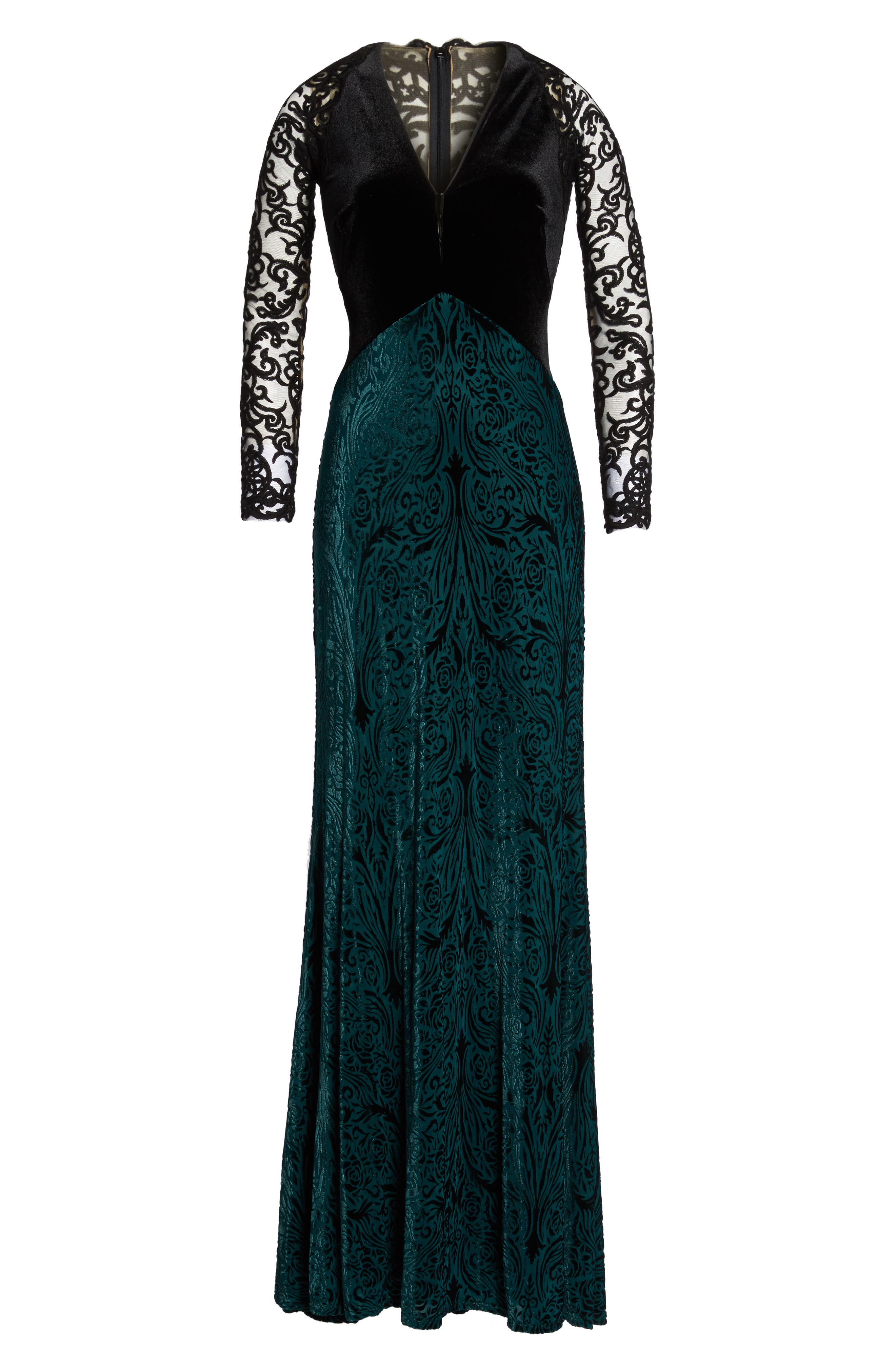 V-Neck Velvet & Illusion Gown,                             Alternate thumbnail 6, color,                             Forest/ Black