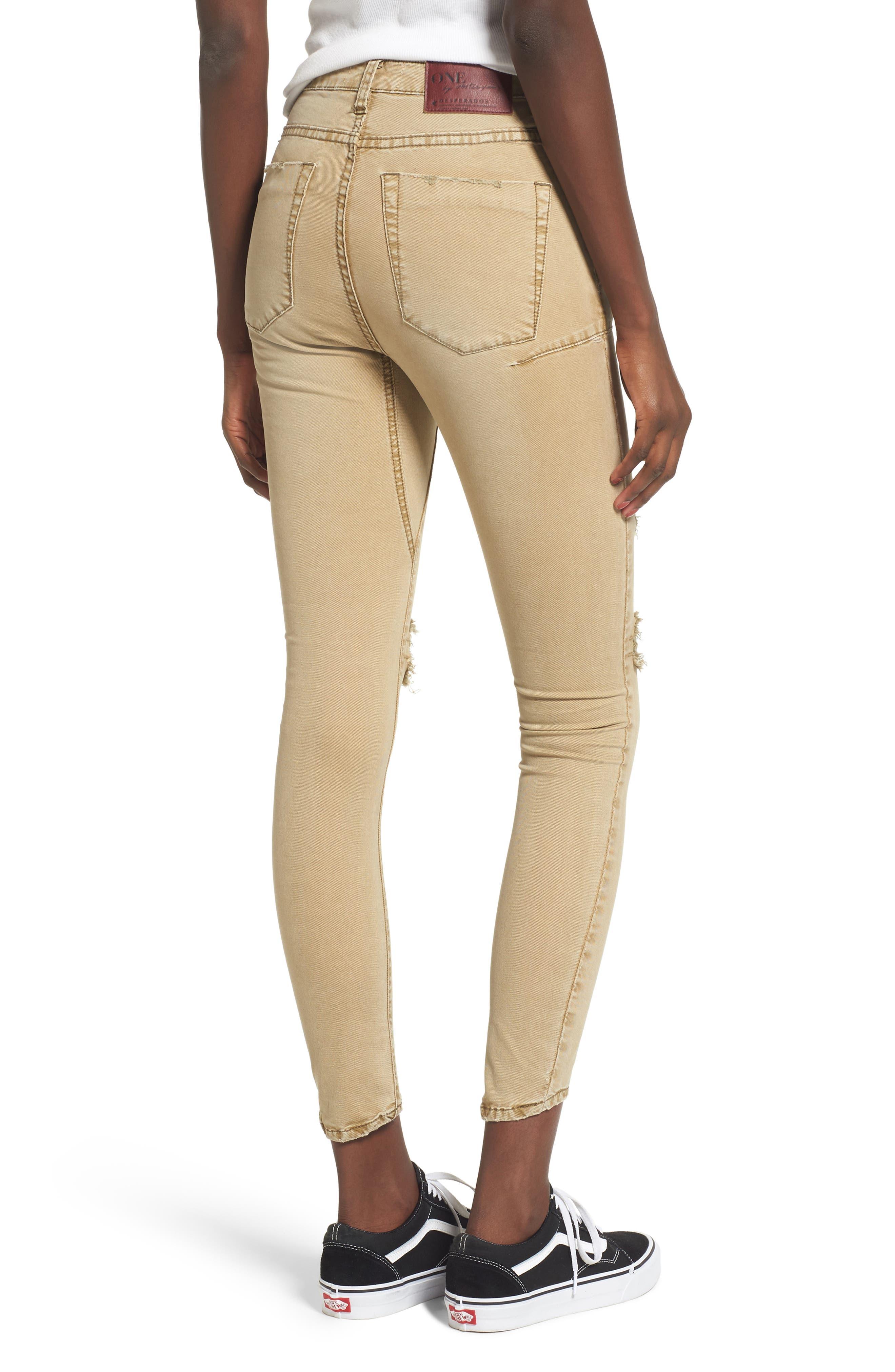 Alternate Image 2  - One Teaspoon Freebirds Ripped Low Waist Skinny Jeans (Tobacco)