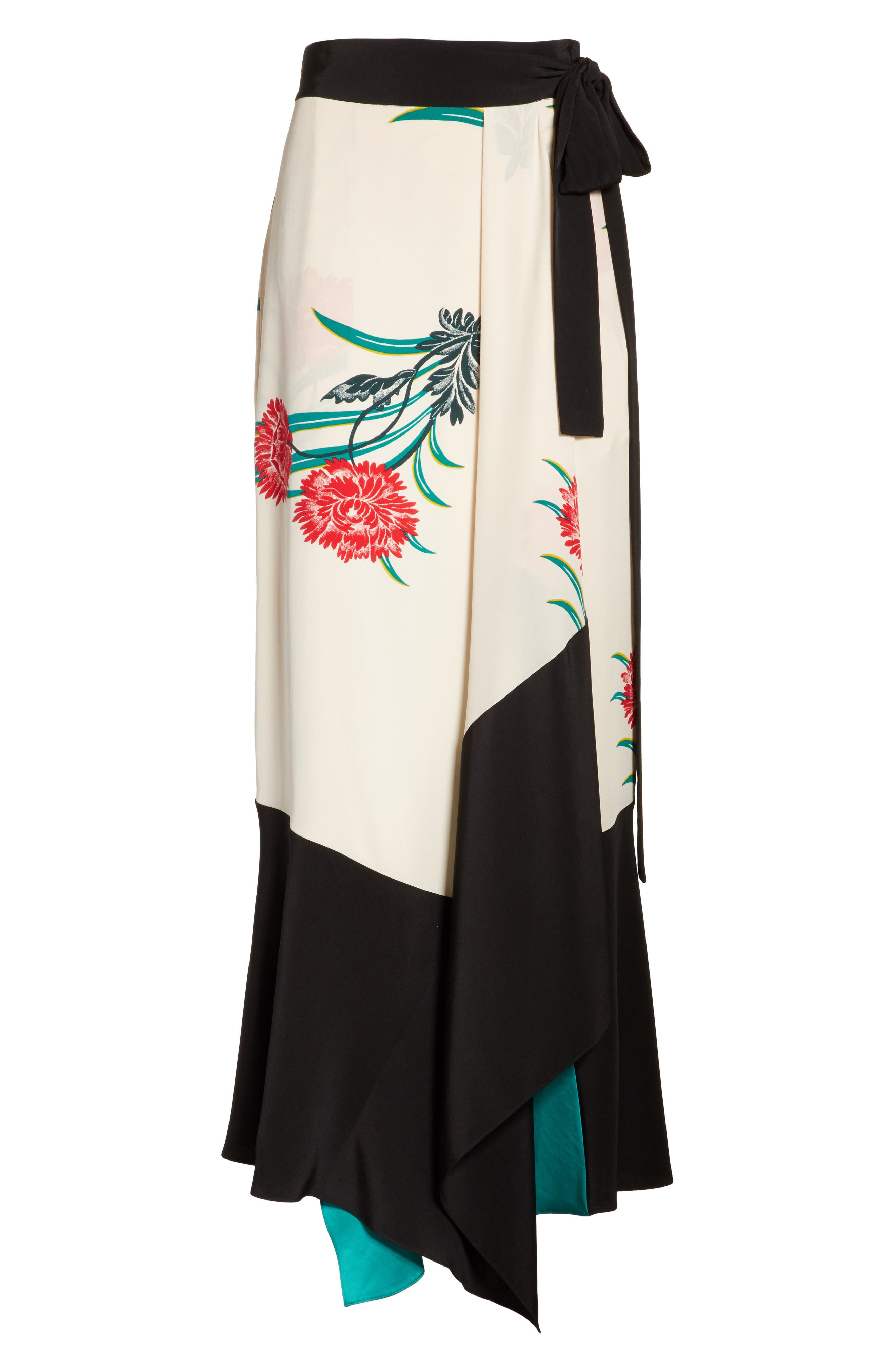 Draped Wrap Silk Midi Skirt,                             Alternate thumbnail 6, color,                             Farren Pearl/ Black/ Jade