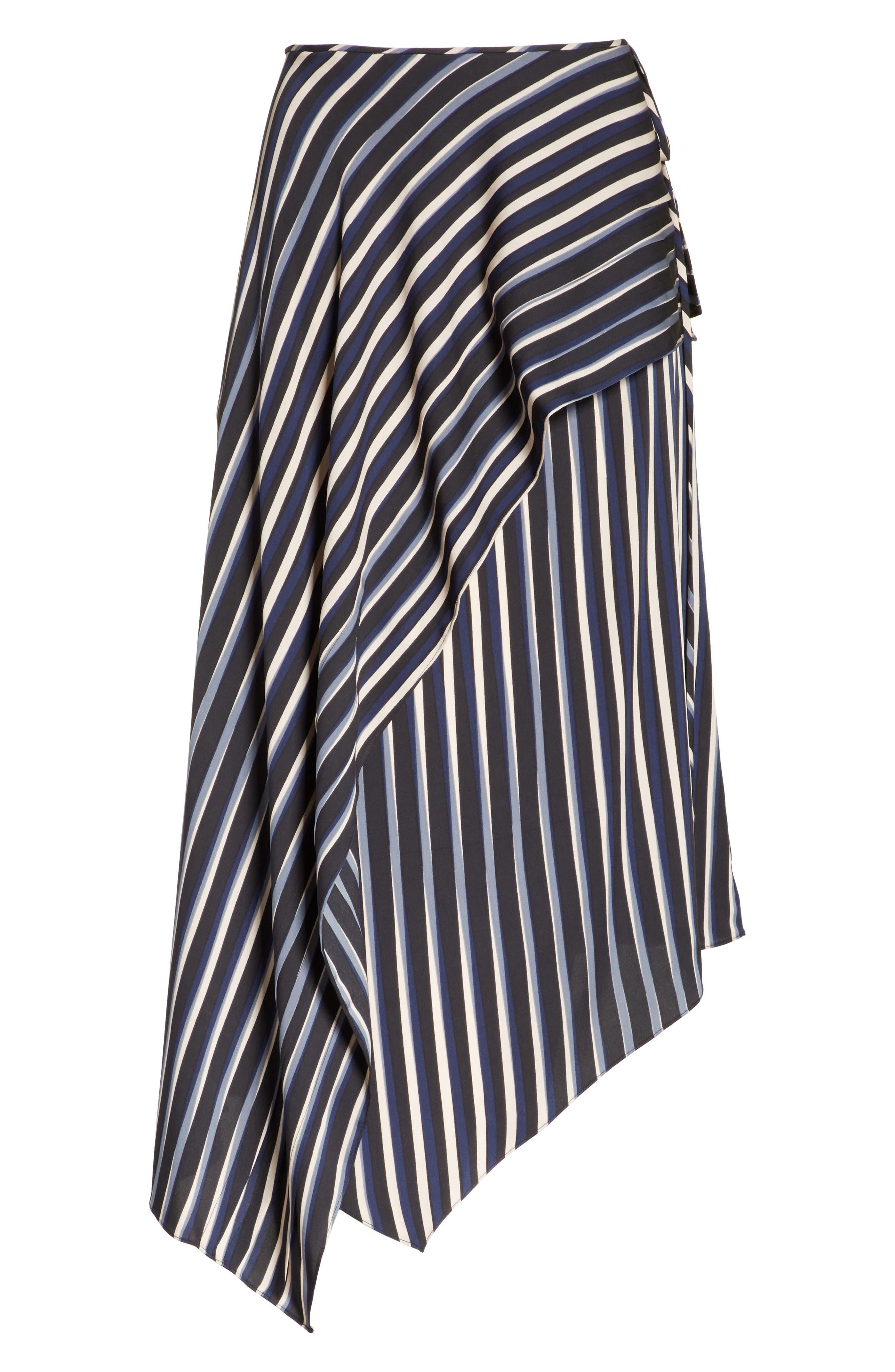 Striped Asymmetrical Midi Skirt,                             Alternate thumbnail 7, color,                             Whiston Black