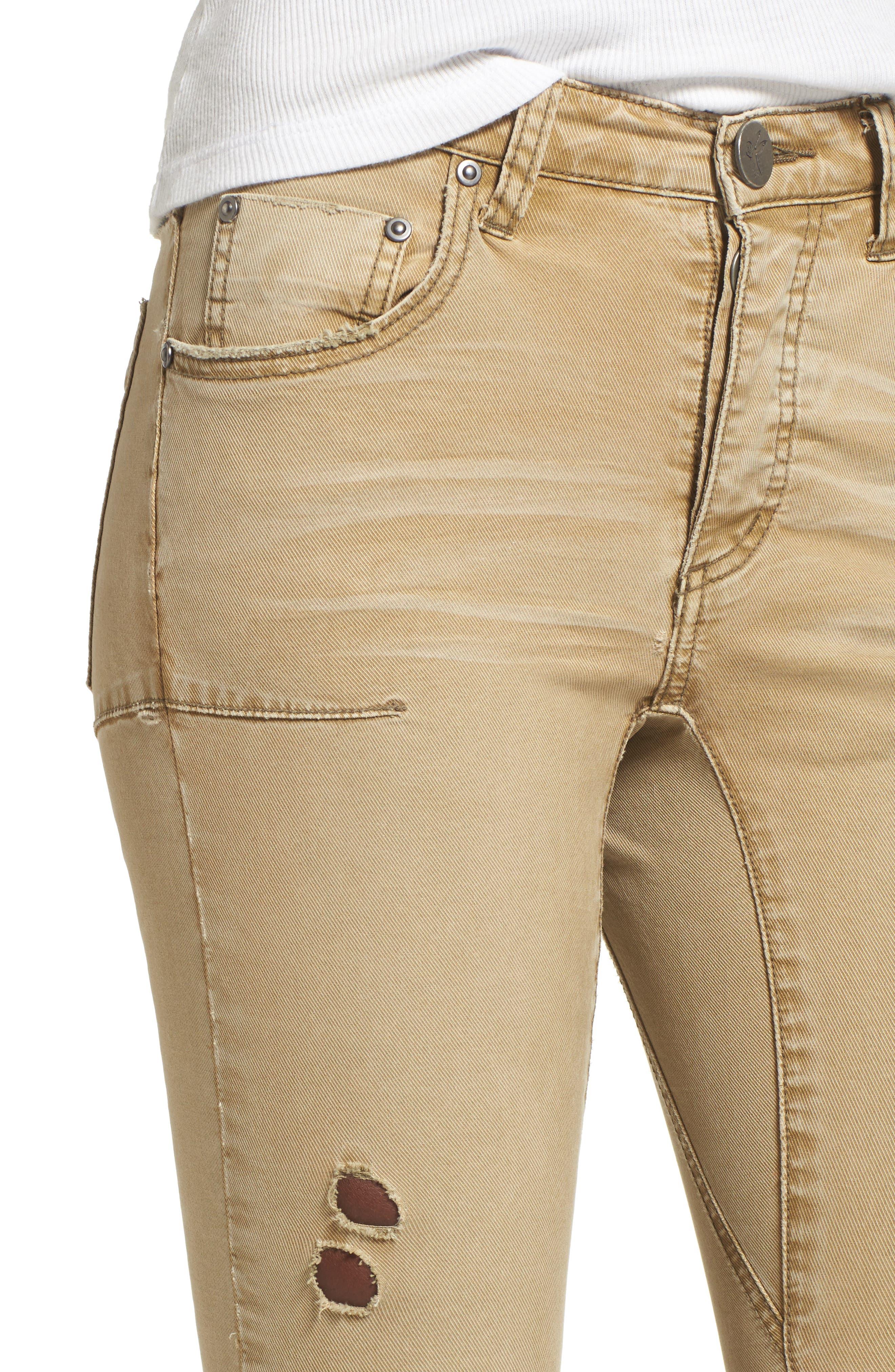 Alternate Image 4  - One Teaspoon Freebirds Ripped Low Waist Skinny Jeans (Tobacco)