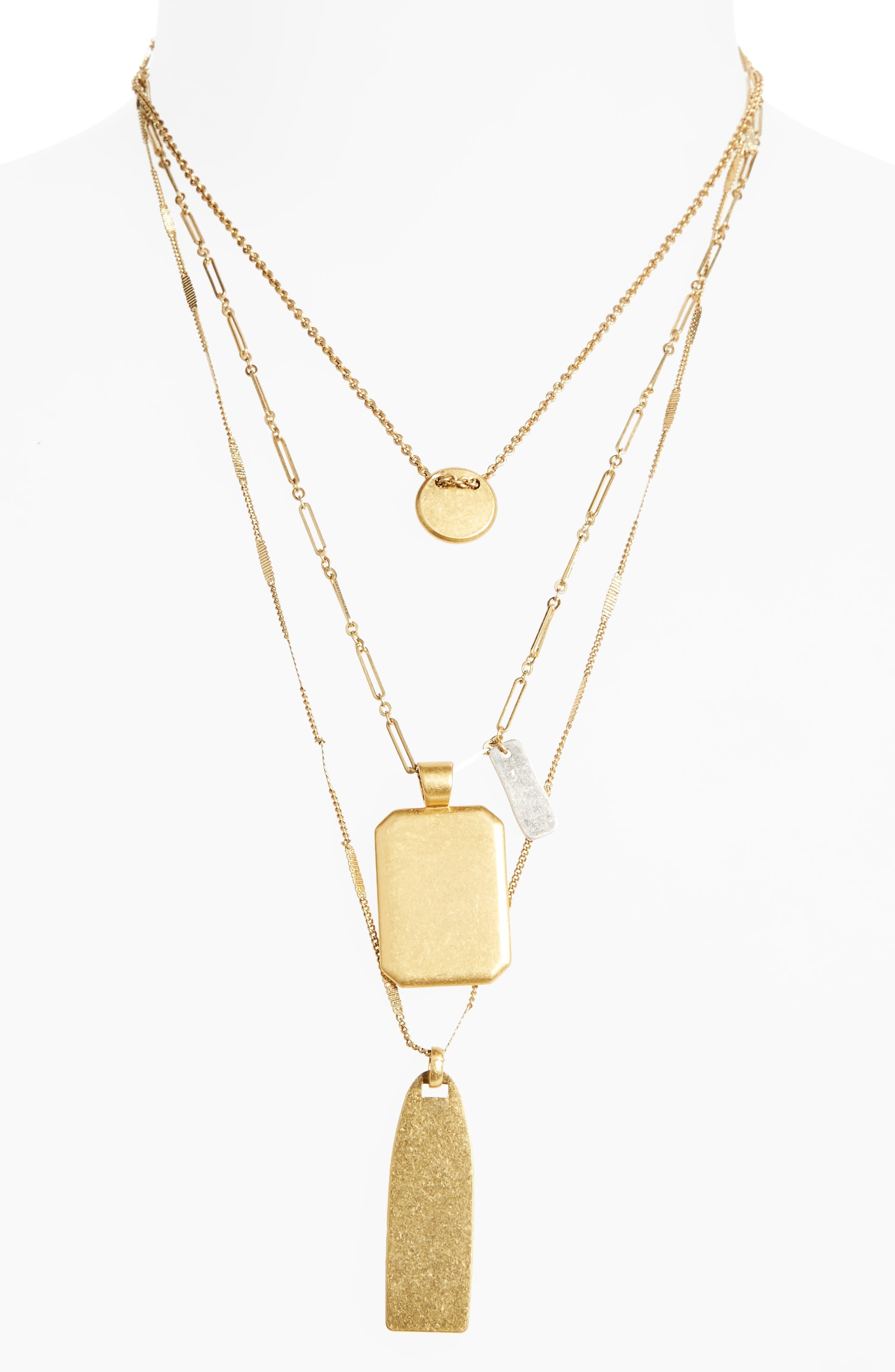 Treasure Pendant Necklace Set,                         Main,                         color, Mixed Metal