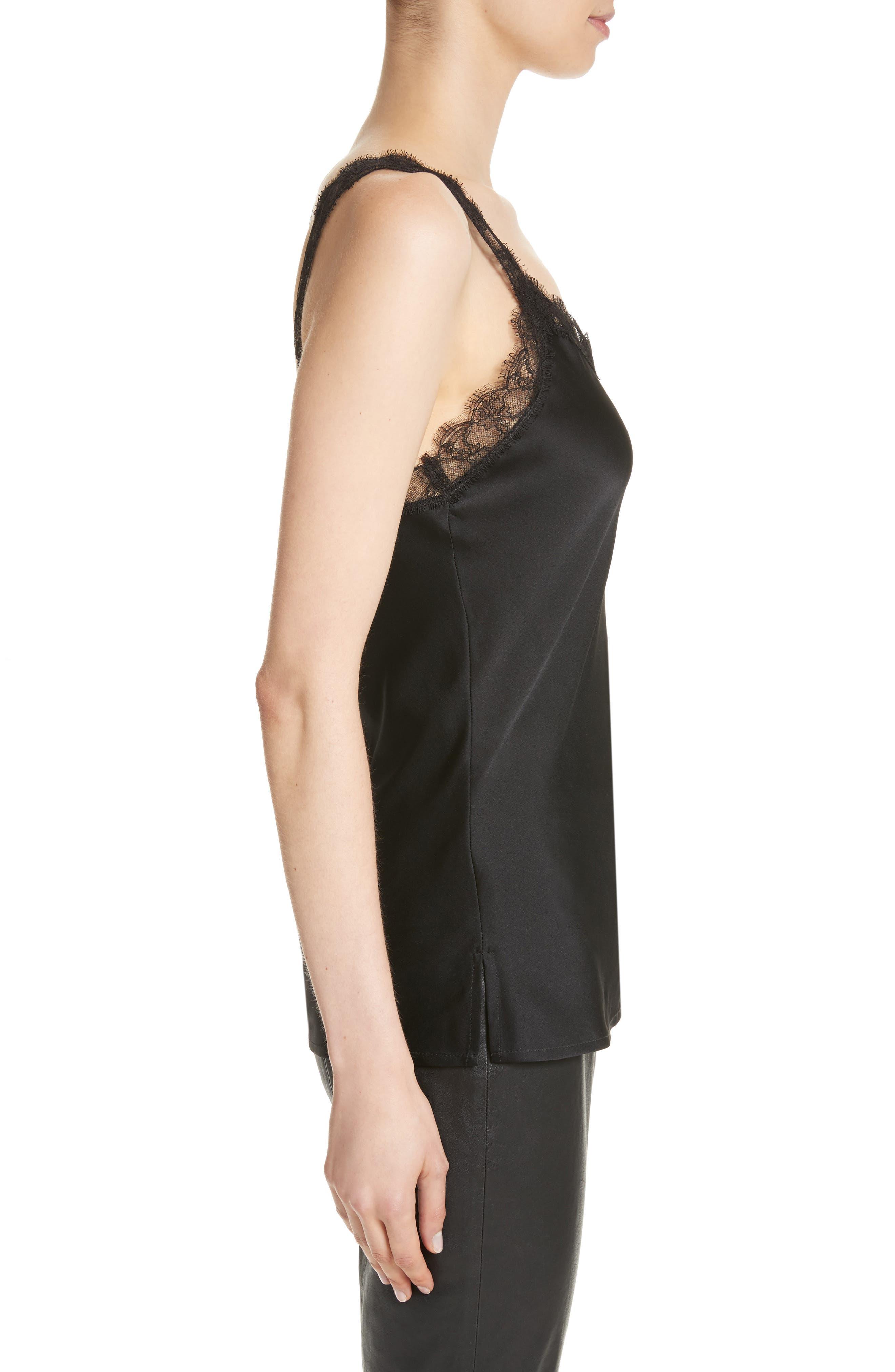 Alternate Image 3  - St. John Collection Lace Trim Stretch Silk Satin Top