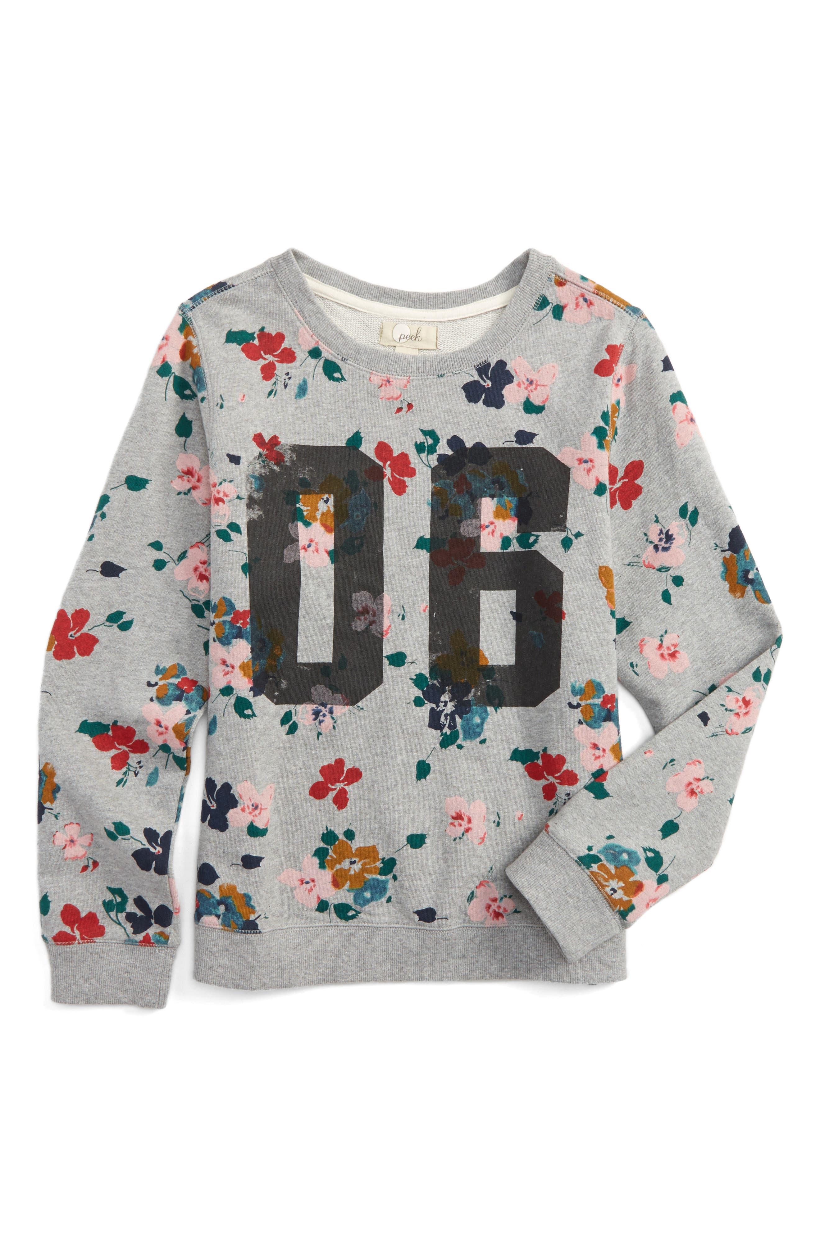 Peek Graphic Print Sweatshirt (Toddler Girls, Little Girls & Big Girls)