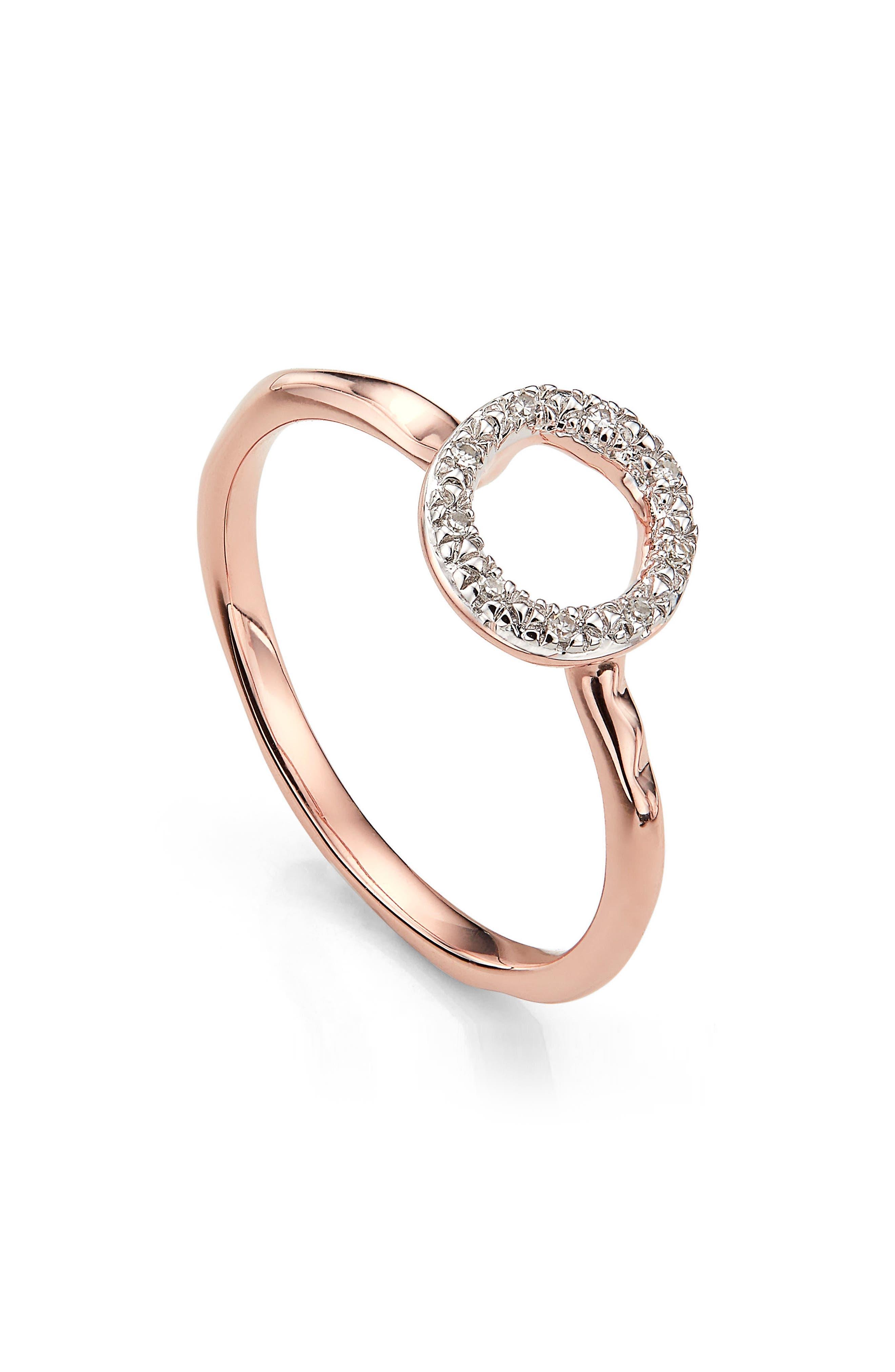Riva Diamond Mini Circle Ring,                             Alternate thumbnail 3, color,                             Rose Gold/ Diamond