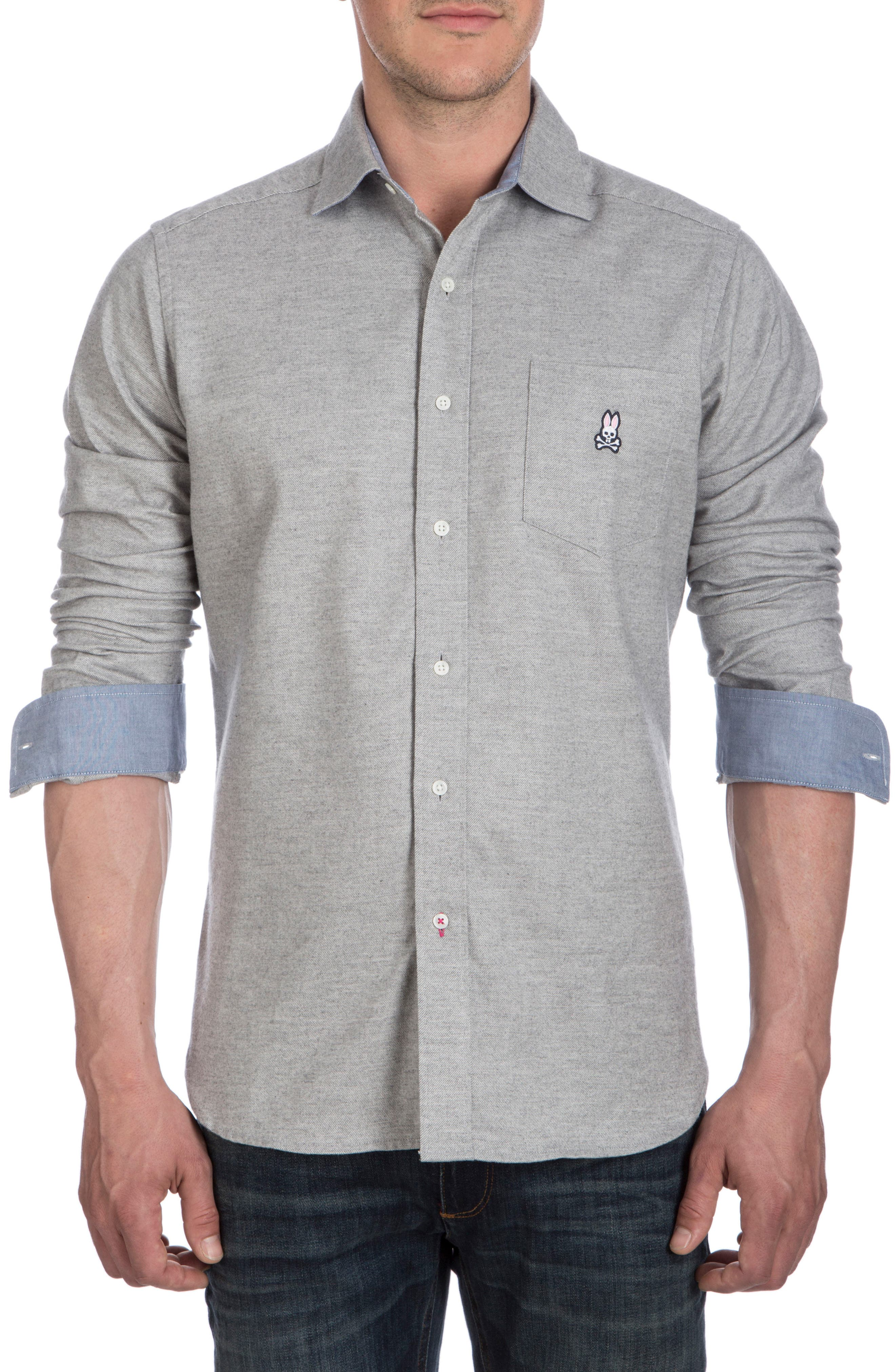 Flannel Sport Shirt,                             Alternate thumbnail 3, color,                             Heather Grey
