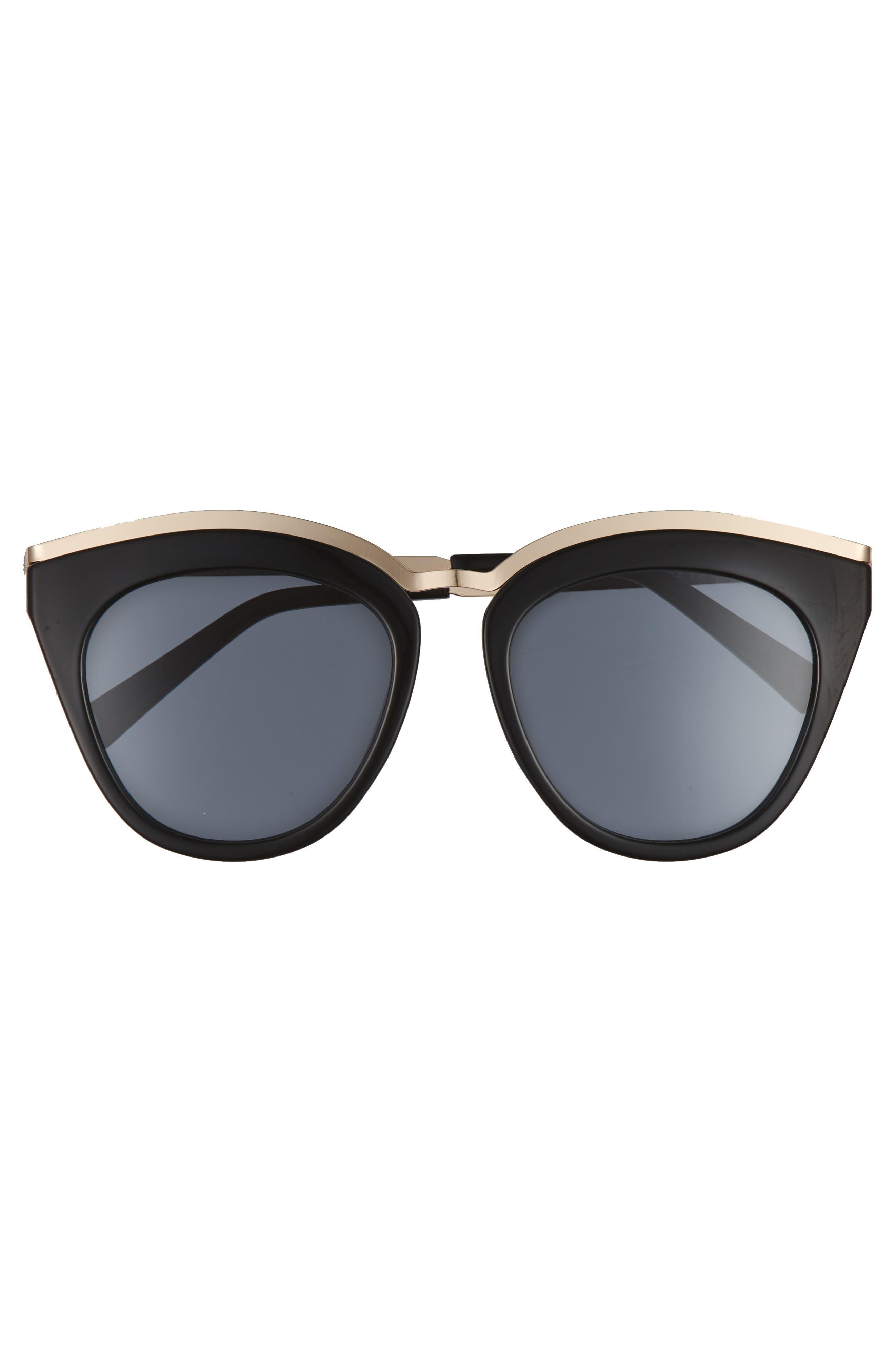 Eye Slay 52mm Cat Eye Sunglasses,                             Alternate thumbnail 3, color,                             Black