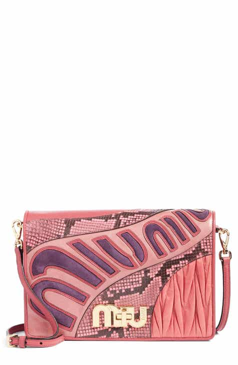 c748c971c35f1 Miu Miu Madras Goatskin Leather Shoulder Bag with Genuine Python Trim