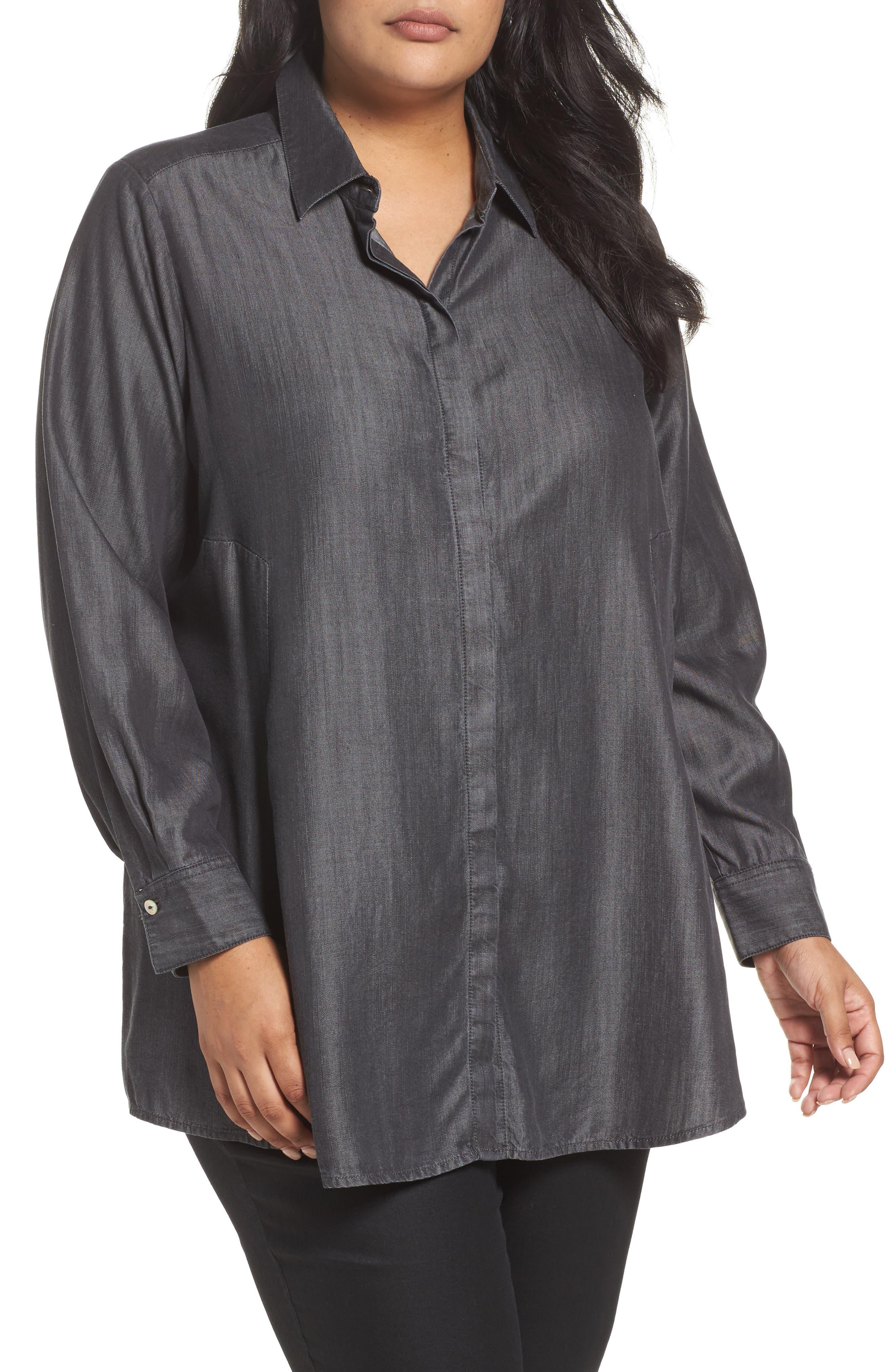 Alternate Image 1 Selected - Foxcroft Chambray Tunic (Plus Size)