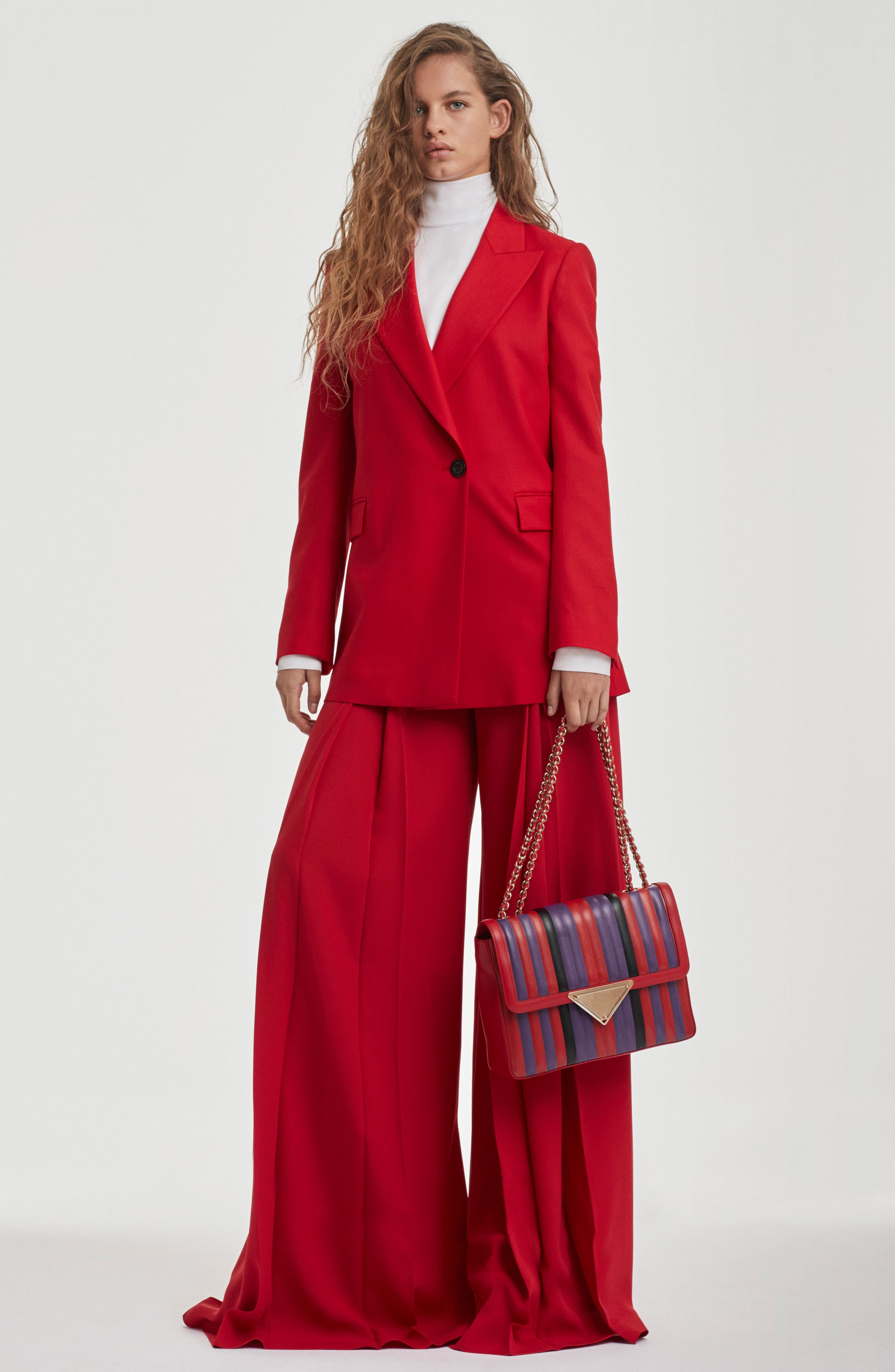 Stretch Wool Blazer,                             Alternate thumbnail 2, color,                             Red
