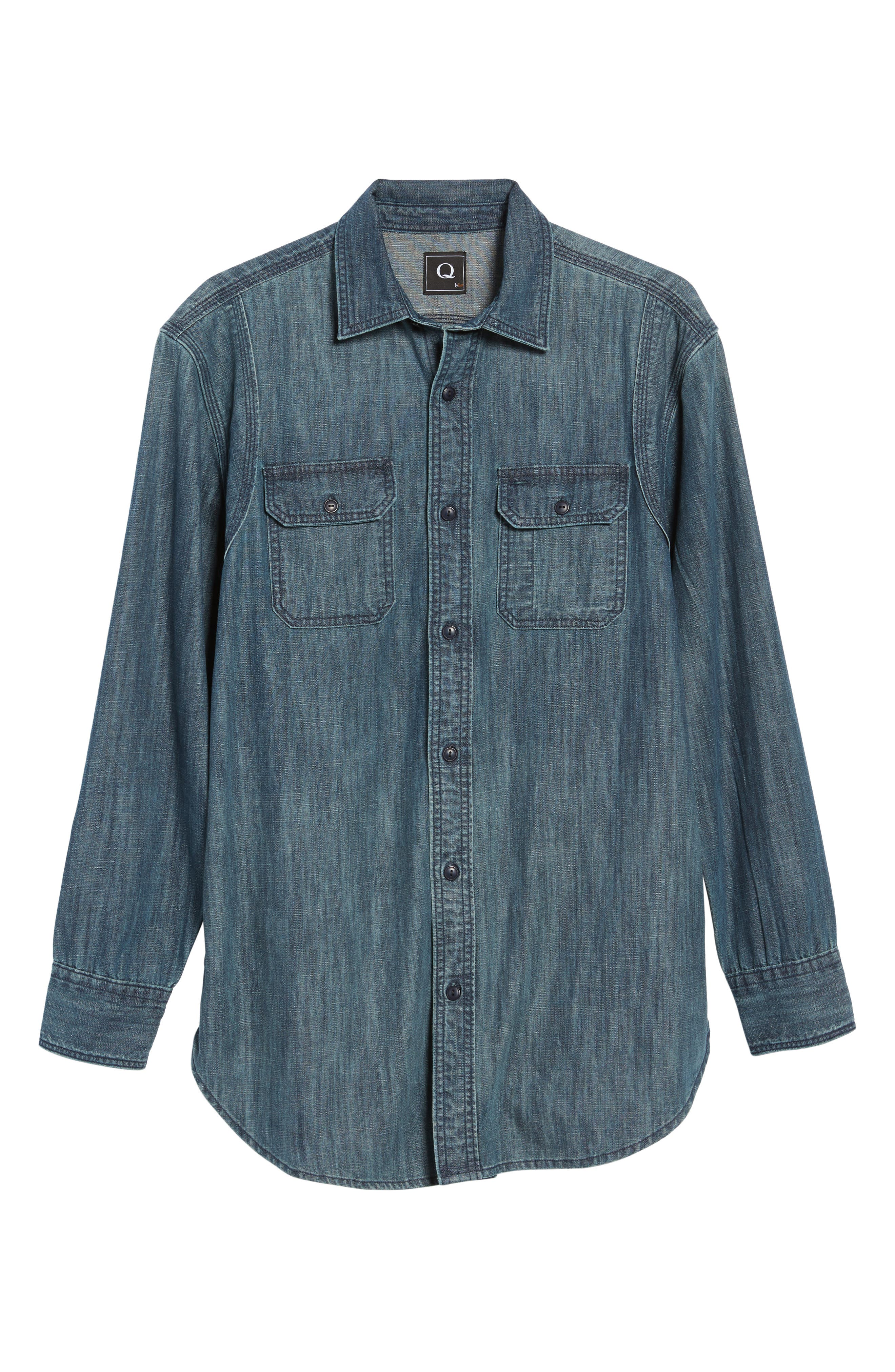 Alternate Image 6  - FLYNT Regular Fit Denim Shirt