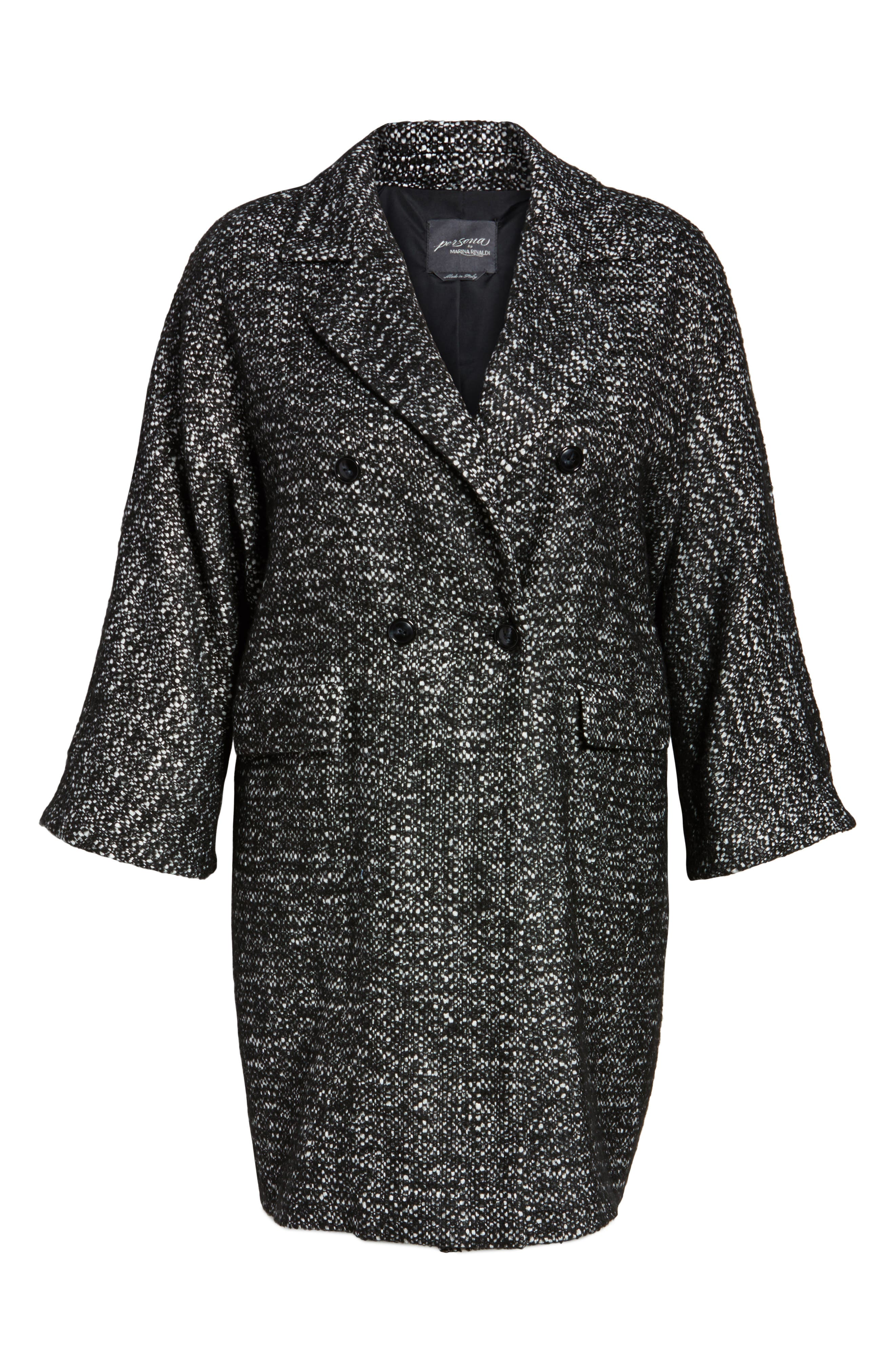 Tweed Car Coat,                             Alternate thumbnail 6, color,                             Black