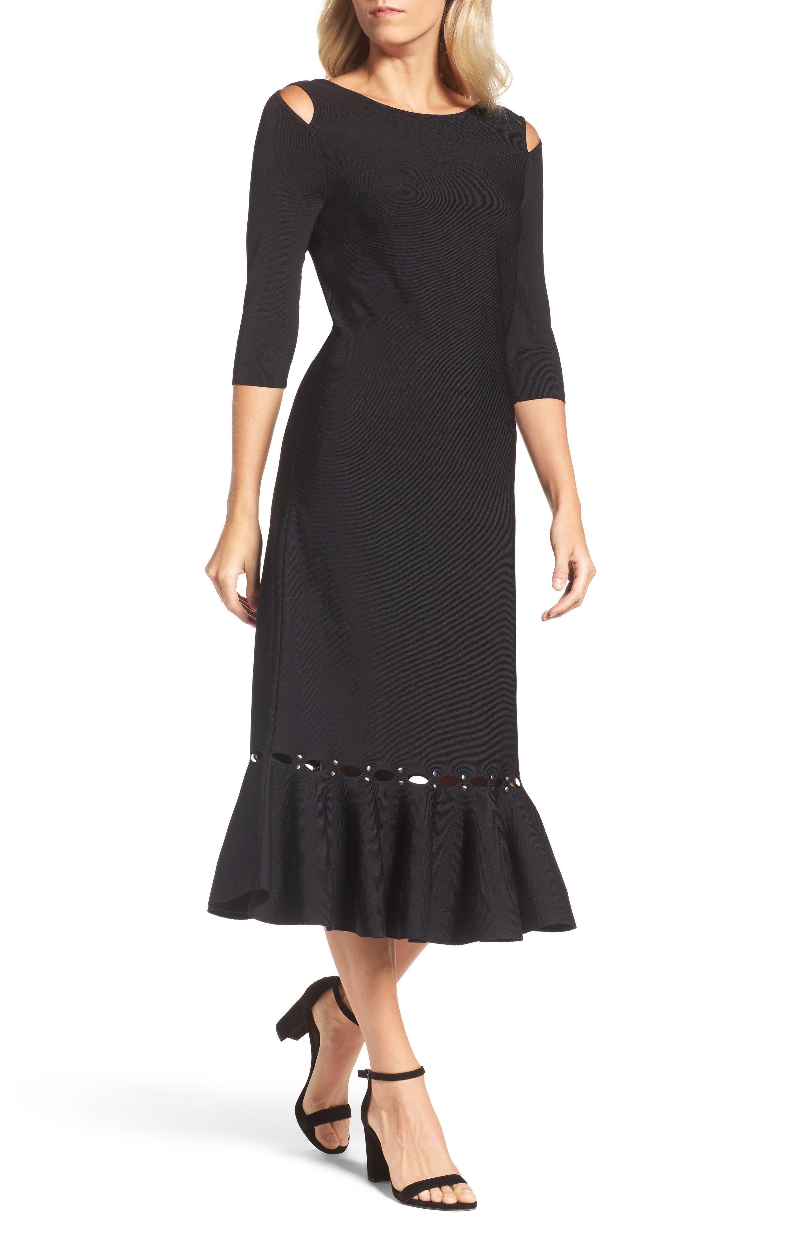 Flared Hem Midi Dress,                             Main thumbnail 1, color,                             Black Onyx
