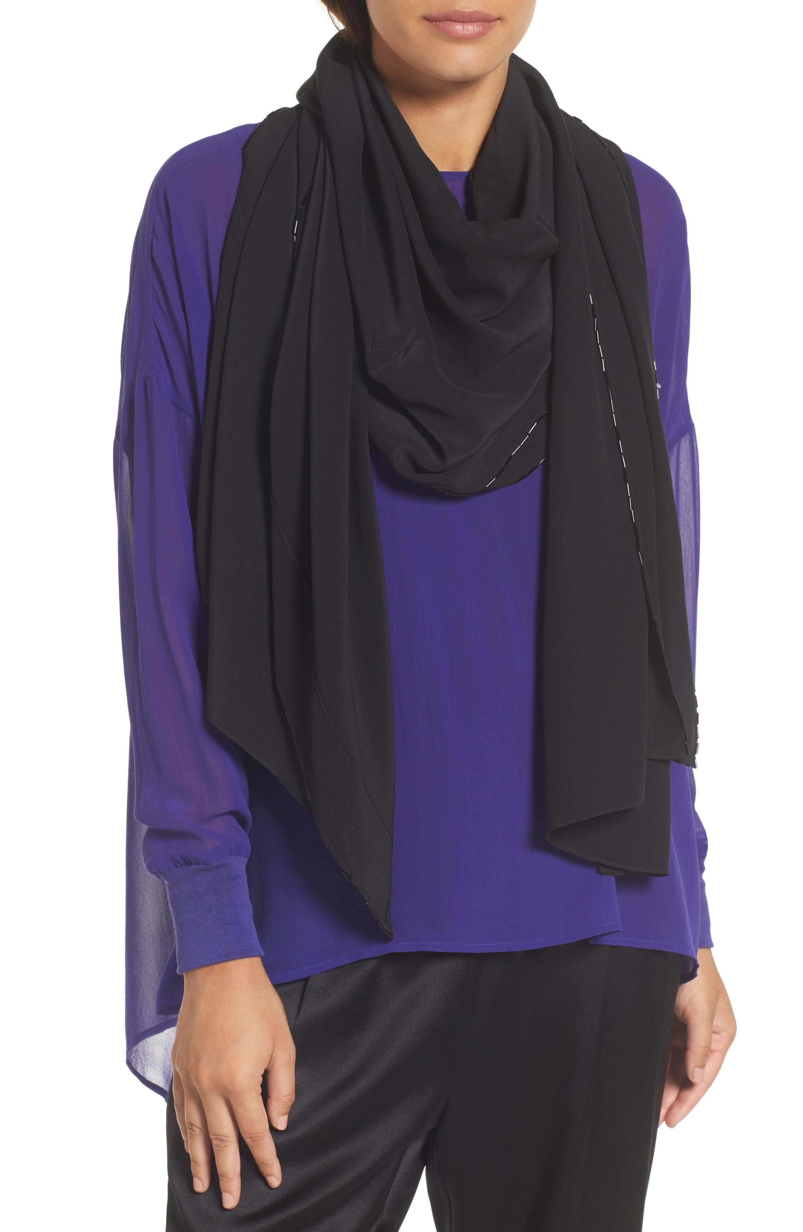 Alternate Image 1 Selected - Eileen Fisher Beaded Silk Scarf