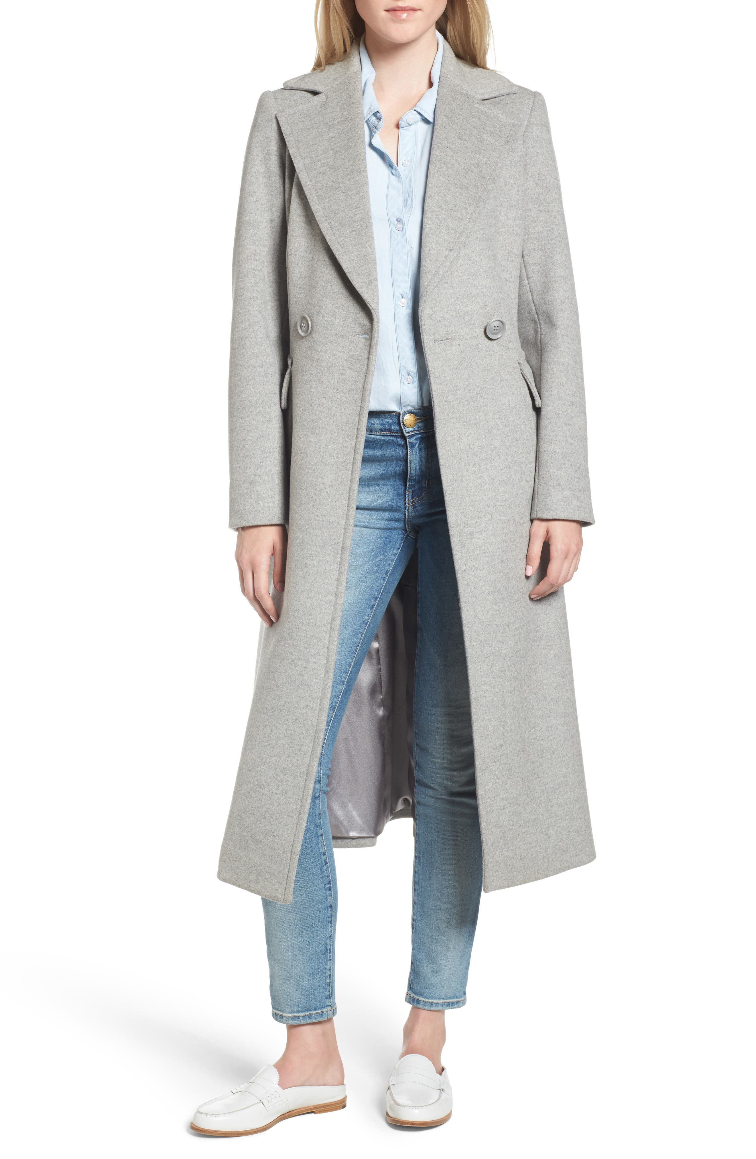 Double Breasted Coat,                         Main,                         color, Light Grey