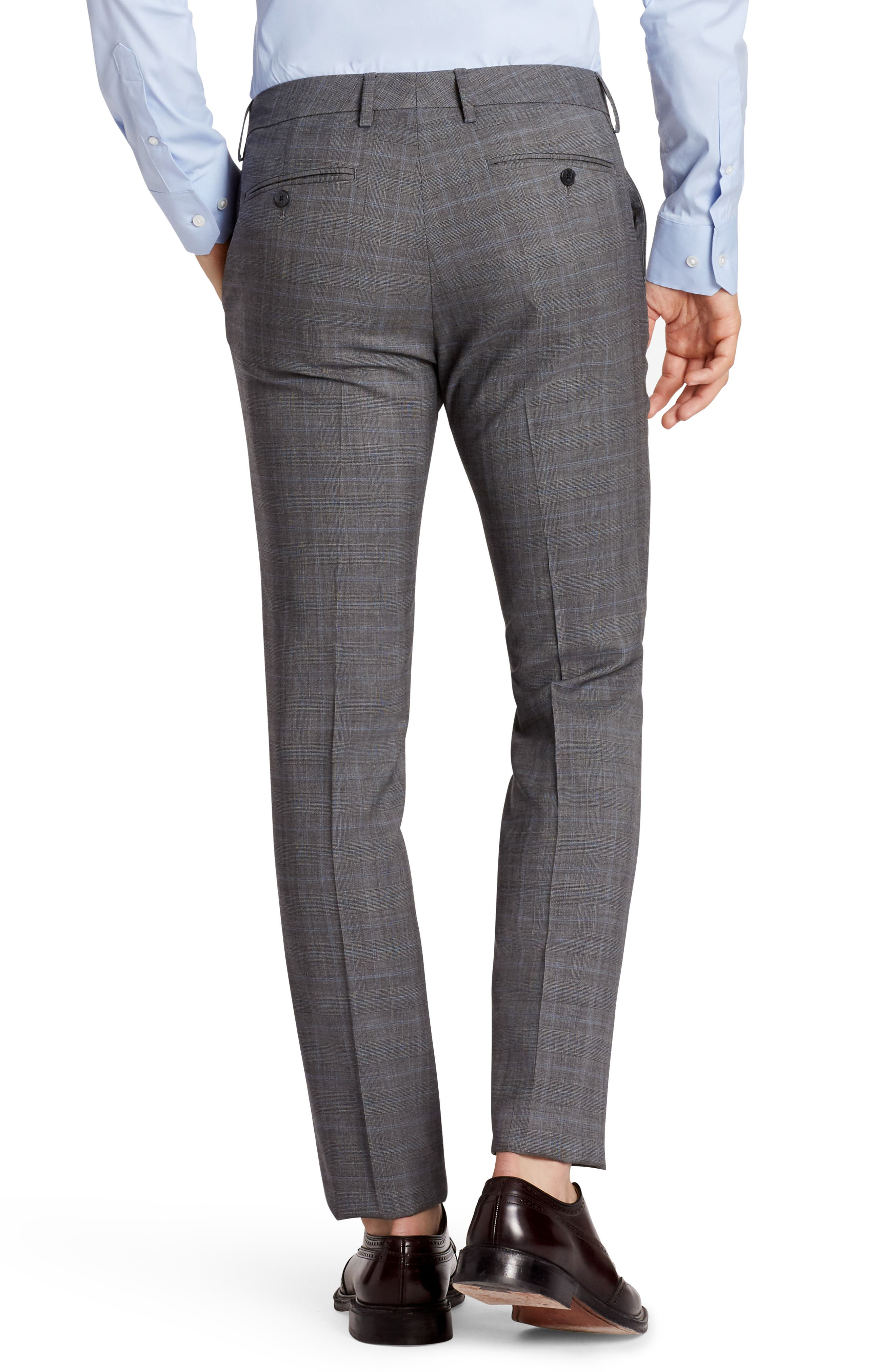 Jetsetter Flat Front Plaid Stretch Wool Trousers,                             Alternate thumbnail 2, color,                             Mid Grey Glen Plaid