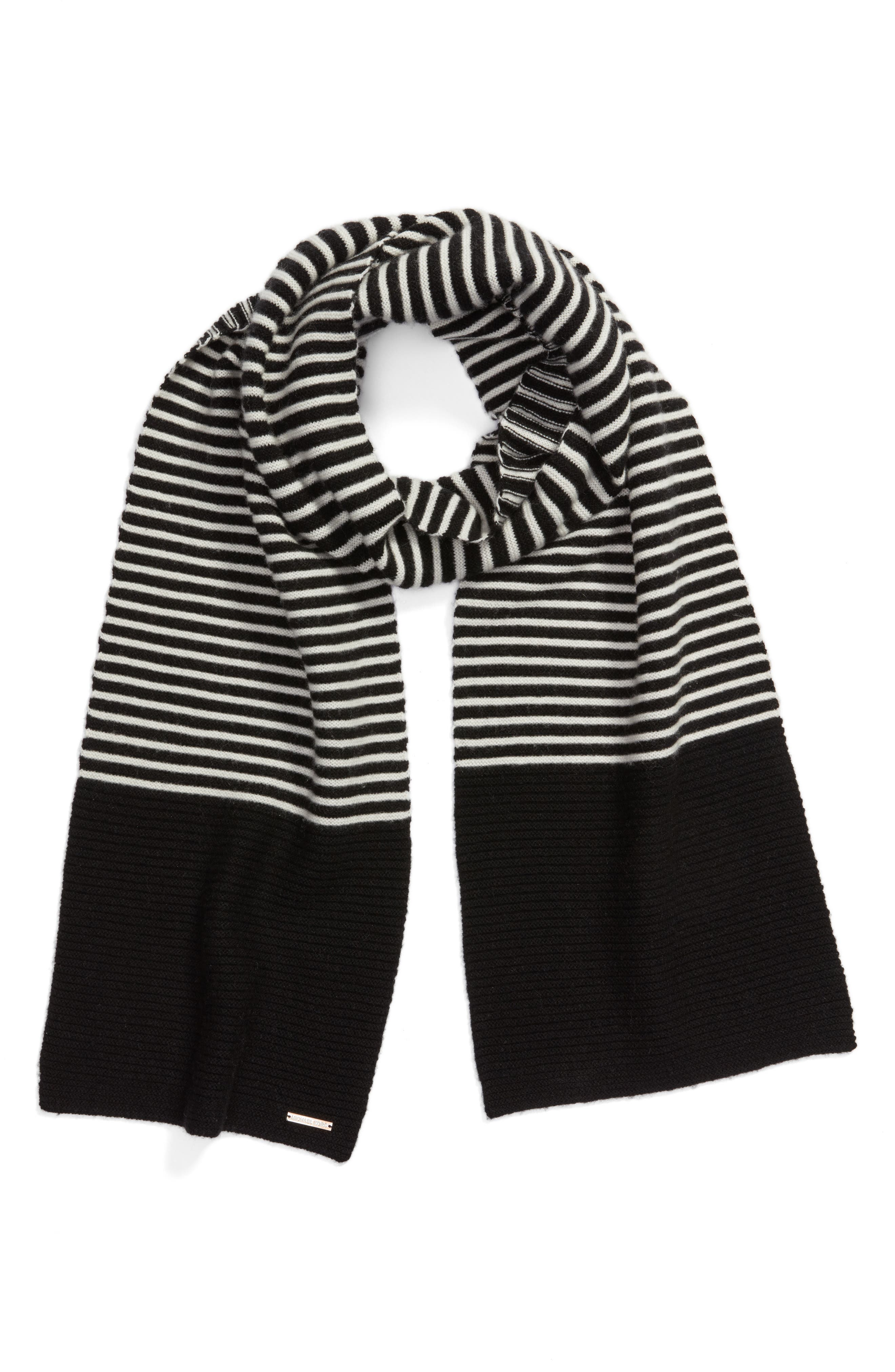 Double Links Wool & Cashmere Scarf,                             Alternate thumbnail 3, color,                             Black/ Cream