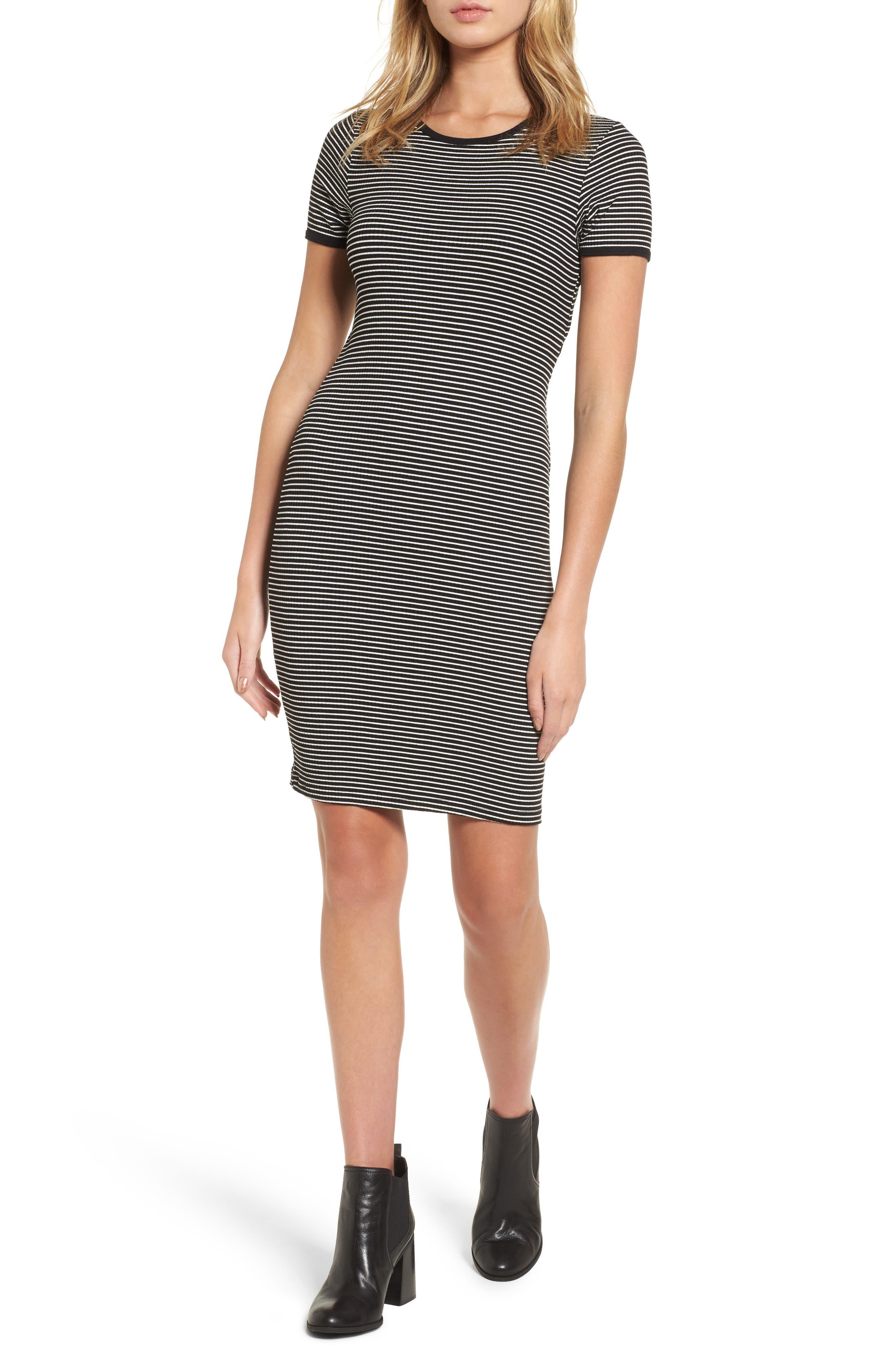 Cutout Stripe T-Shirt Dress,                             Main thumbnail 1, color,                             White/ Black