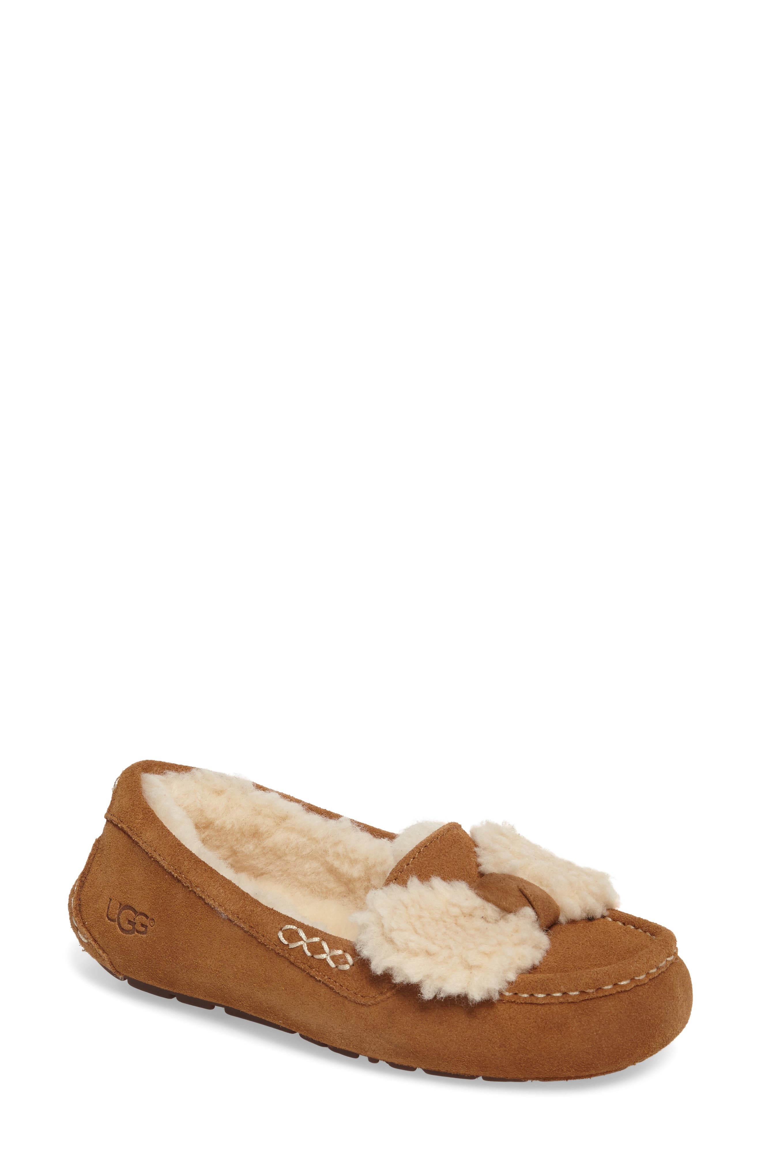 Ansley Bow Slipper,                         Main,                         color, Chestnut Suede