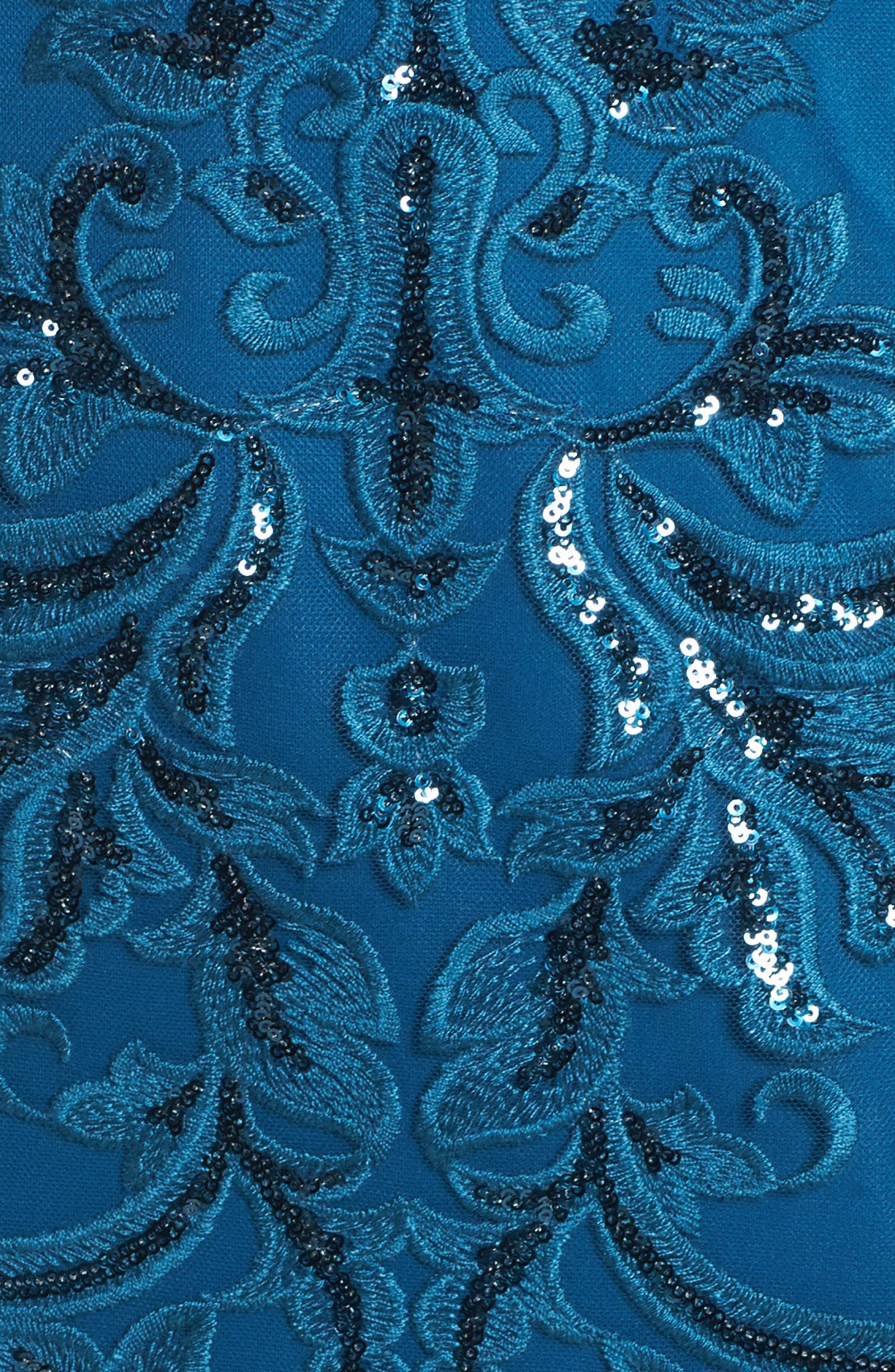 Sequin Scroll Gown,                             Alternate thumbnail 5, color,                             Evening Sky