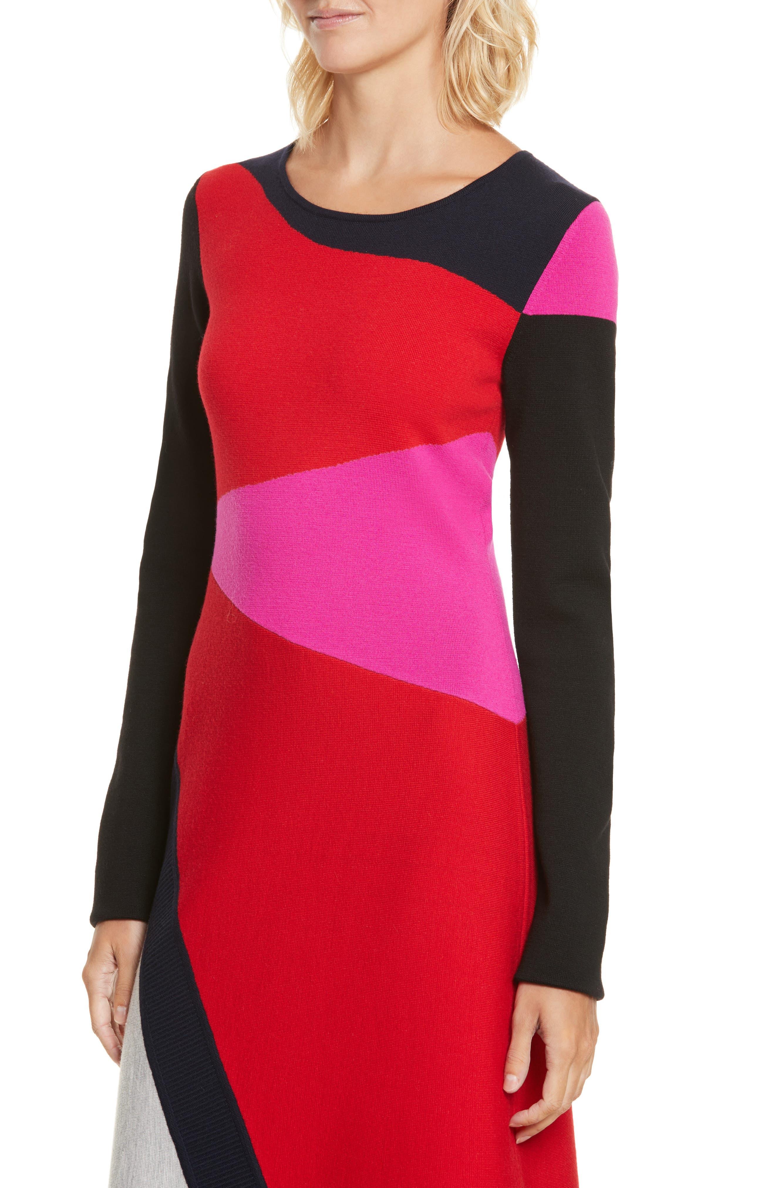 Colorblock Intarsia Dress,                             Alternate thumbnail 4, color,                             Lipstick Multi
