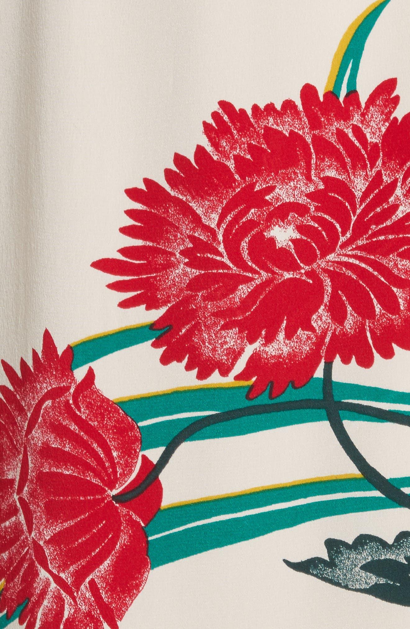 Draped Wrap Silk Midi Skirt,                             Alternate thumbnail 5, color,                             Farren Pearl/ Black/ Jade
