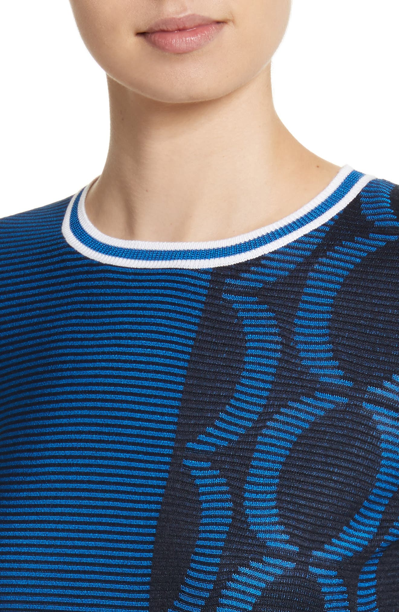 Jacquard Knit Sweater,                             Alternate thumbnail 4, color,                             Navy/ Niagara/ Bianco