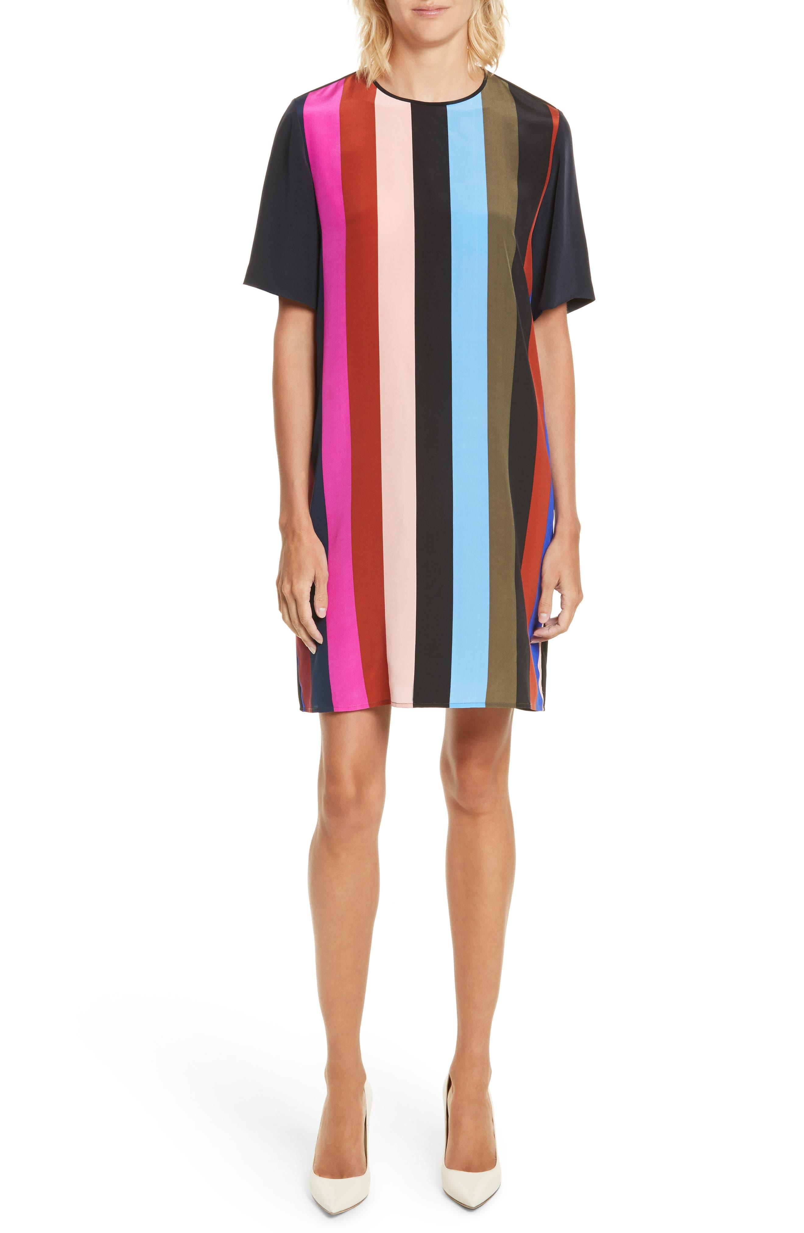 Diane von Furstenberg Stripe Silk Shift Dress,                         Main,                         color, Carson Black Multi/ Alex Navy