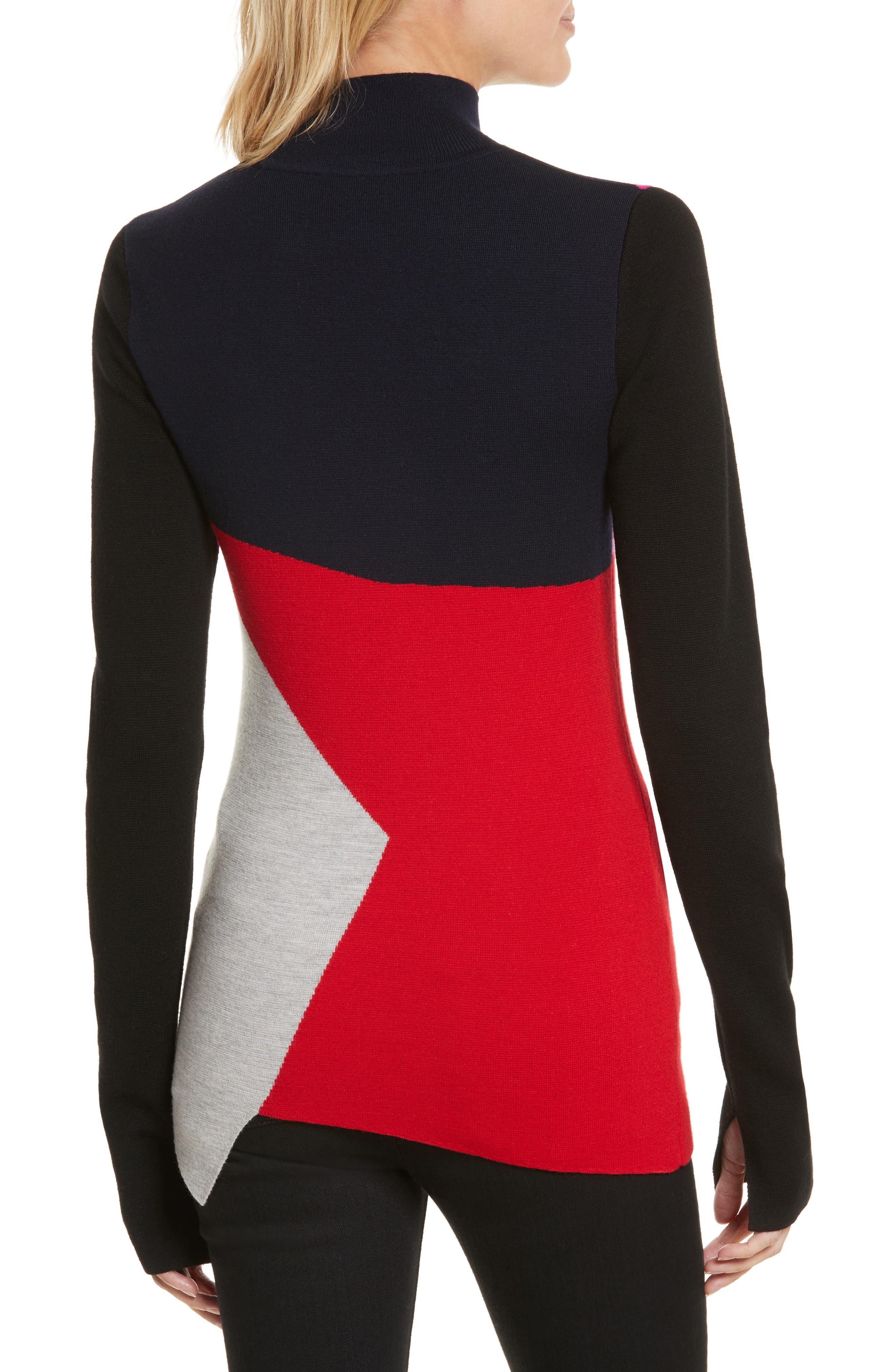Diane von Furstenberg Colorblock Turtleneck Pullover,                             Alternate thumbnail 2, color,                             Lipstick Multi