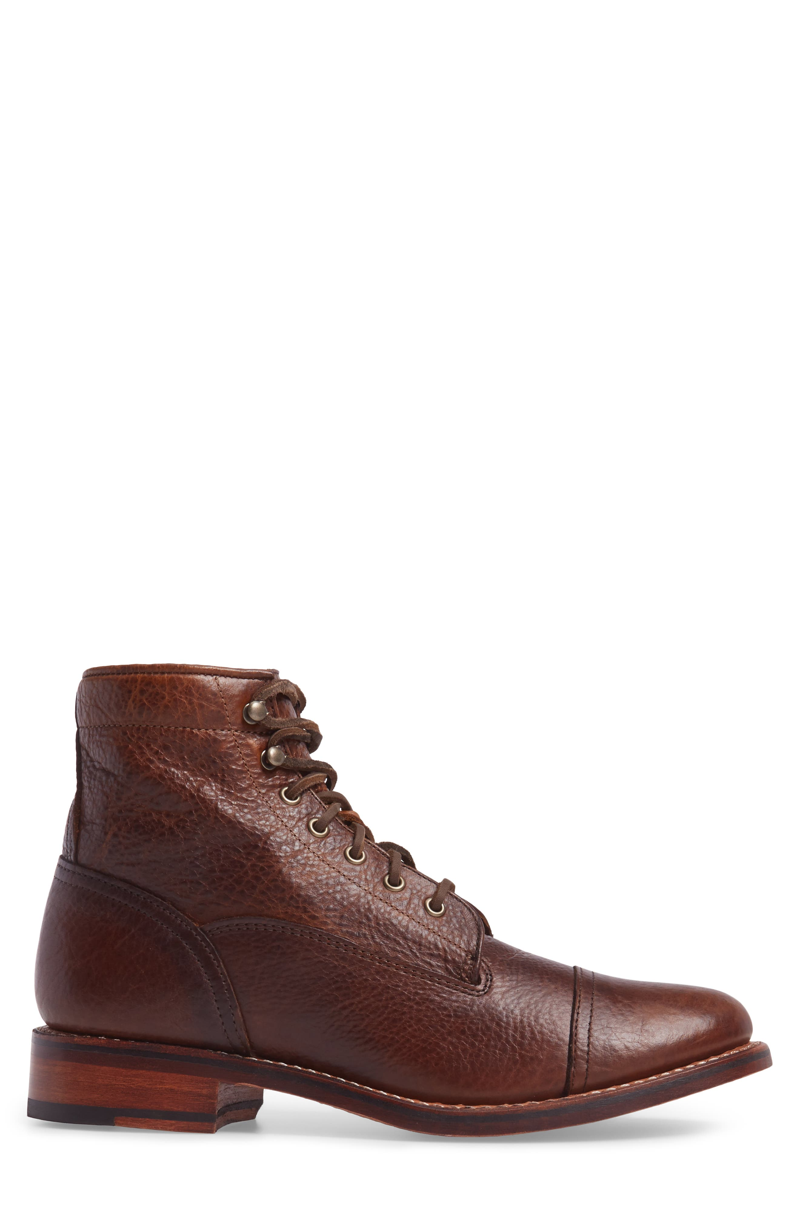 Ariat Highlands Cap Toe Boot,                             Alternate thumbnail 3, color,                             Whiskey Bourbon Leather